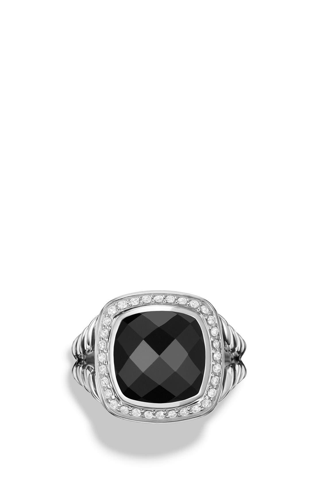 DAVID YURMAN, 'Albion' Ring with Semiprecious Stone and Diamonds, Alternate thumbnail 3, color, BLACK ONYX