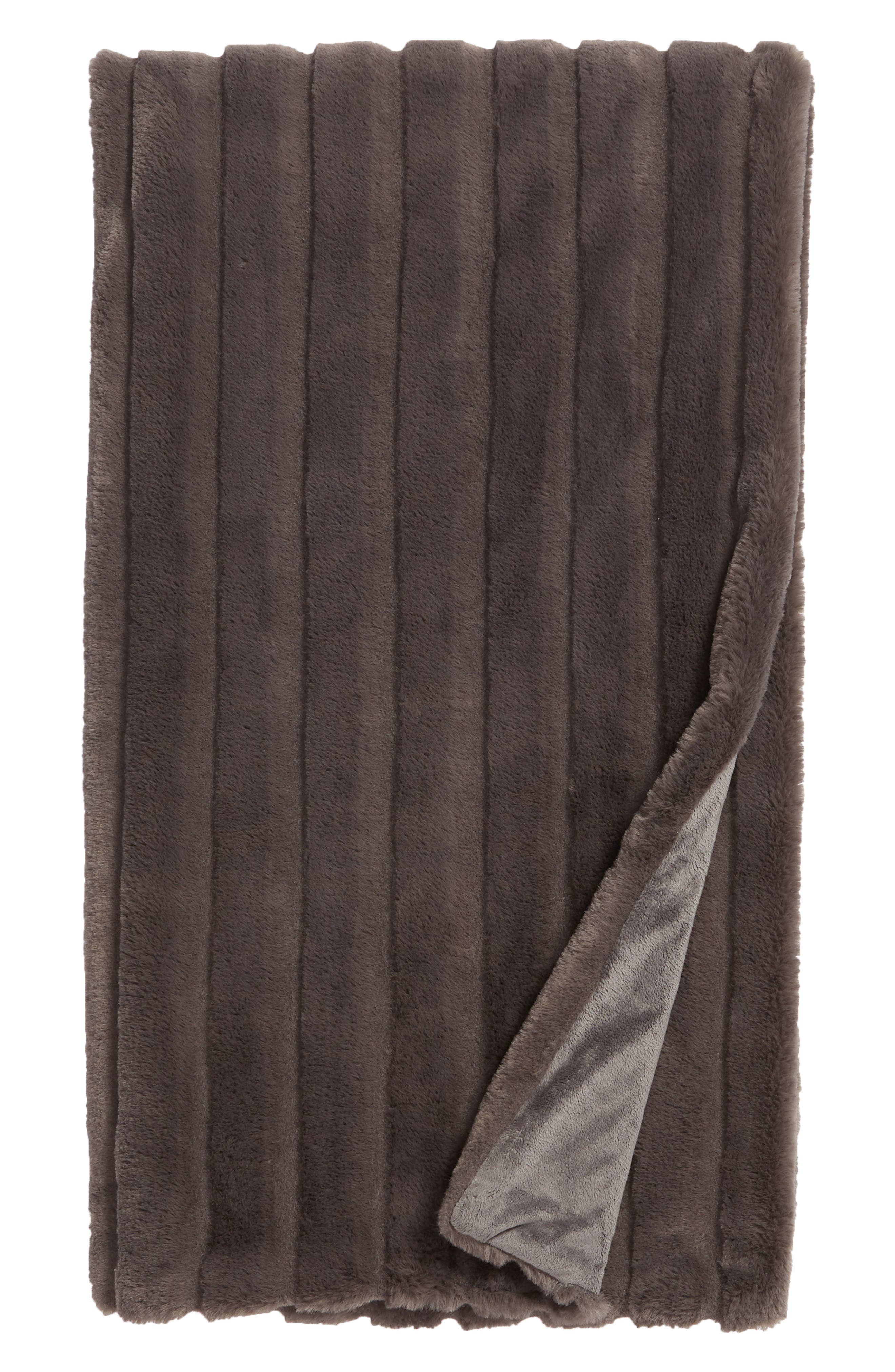 NORDSTROM AT HOME, Sheared Stripe Faux Fur Throw, Main thumbnail 1, color, GREY MAGNET
