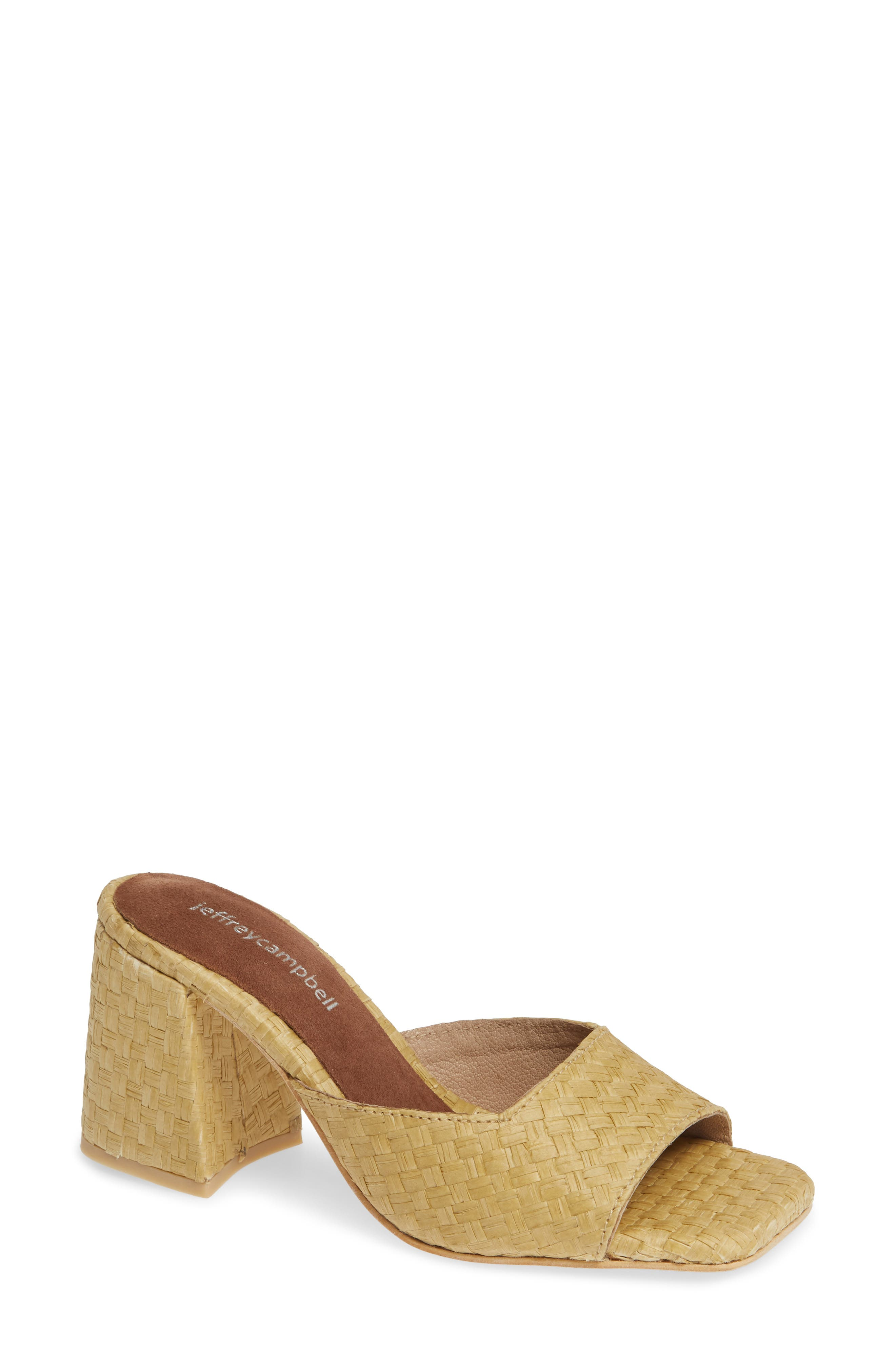 JEFFREY CAMPBELL, Mélange Raffia Slide Sandal, Main thumbnail 1, color, 200