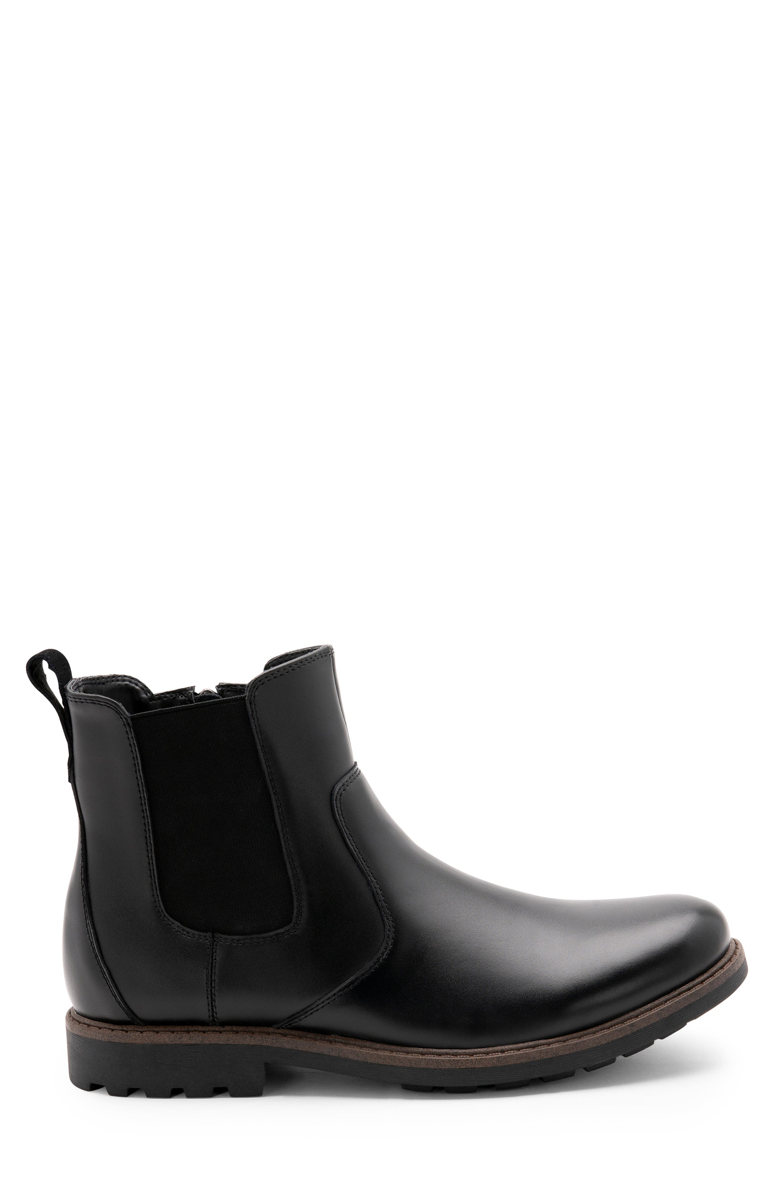 BLONDO, Shadow Waterproof Chelsea Boot, Alternate thumbnail 3, color, BLACK LEATHER