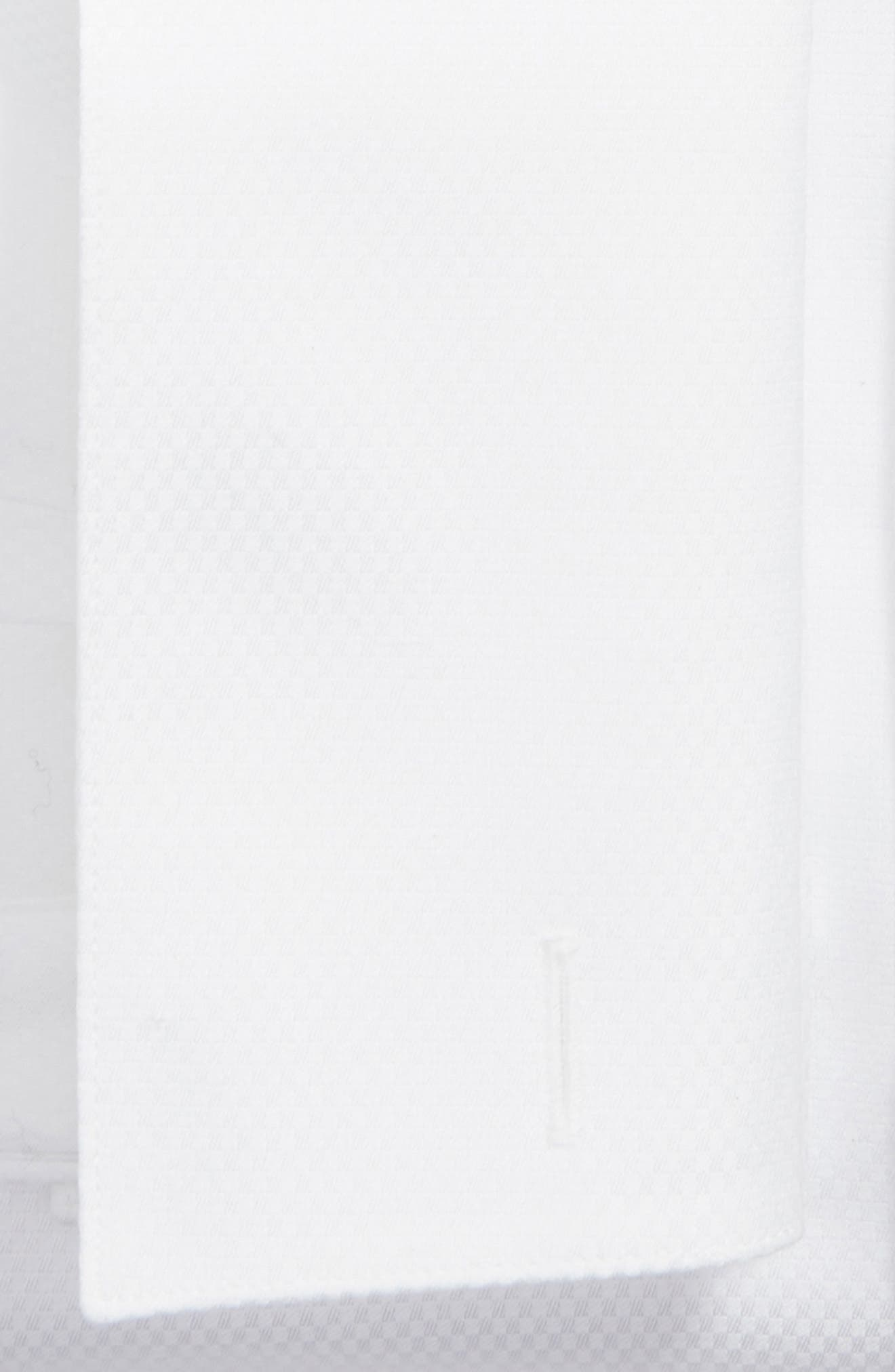 DAVID DONAHUE, Regular Fit Solid French Cuff Tuxedo Shirt, Alternate thumbnail 6, color, WHITE / WHITE
