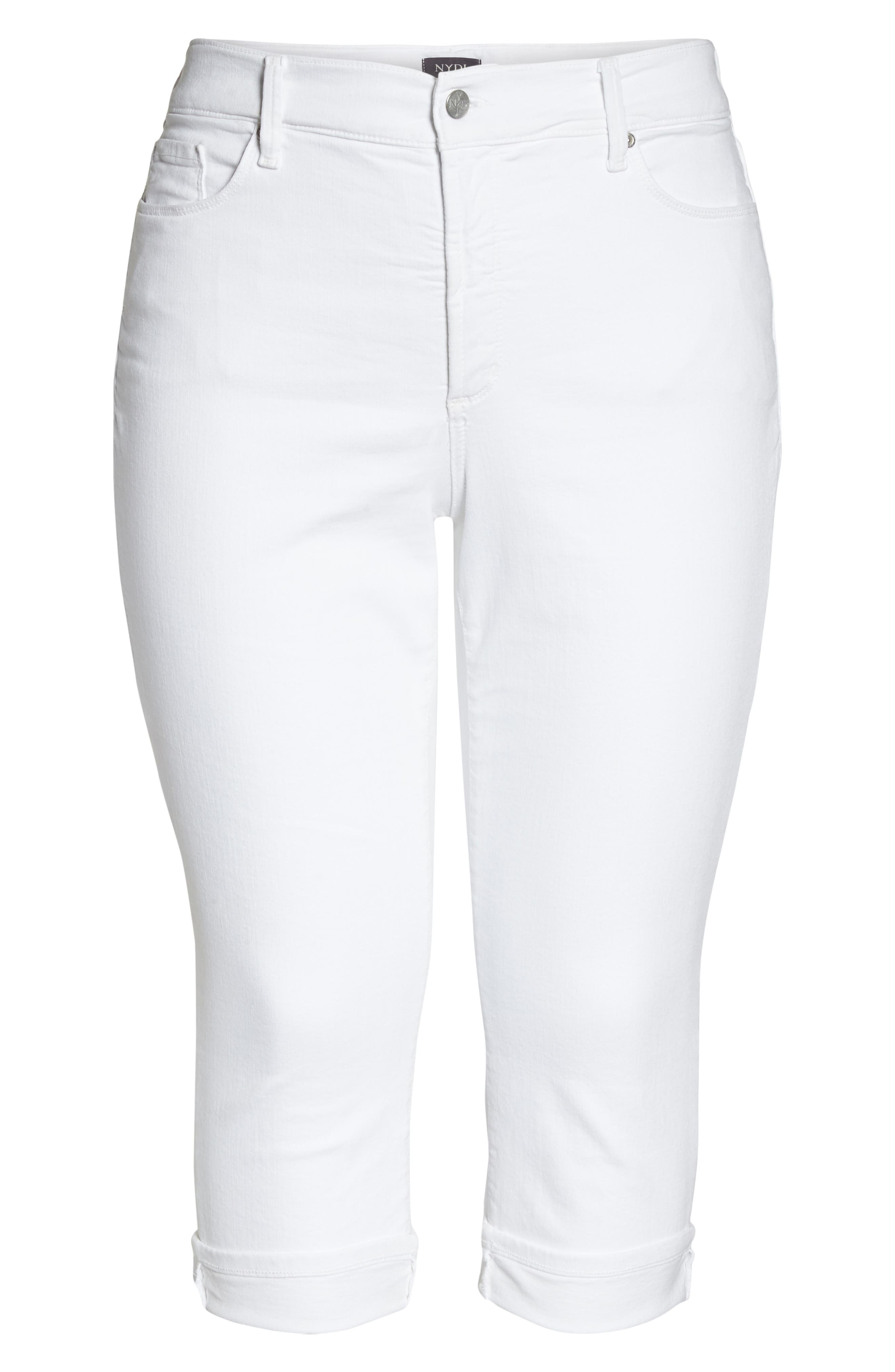 NYDJ, Marilyn Crop Cuff Jeans, Alternate thumbnail 7, color, WHITE