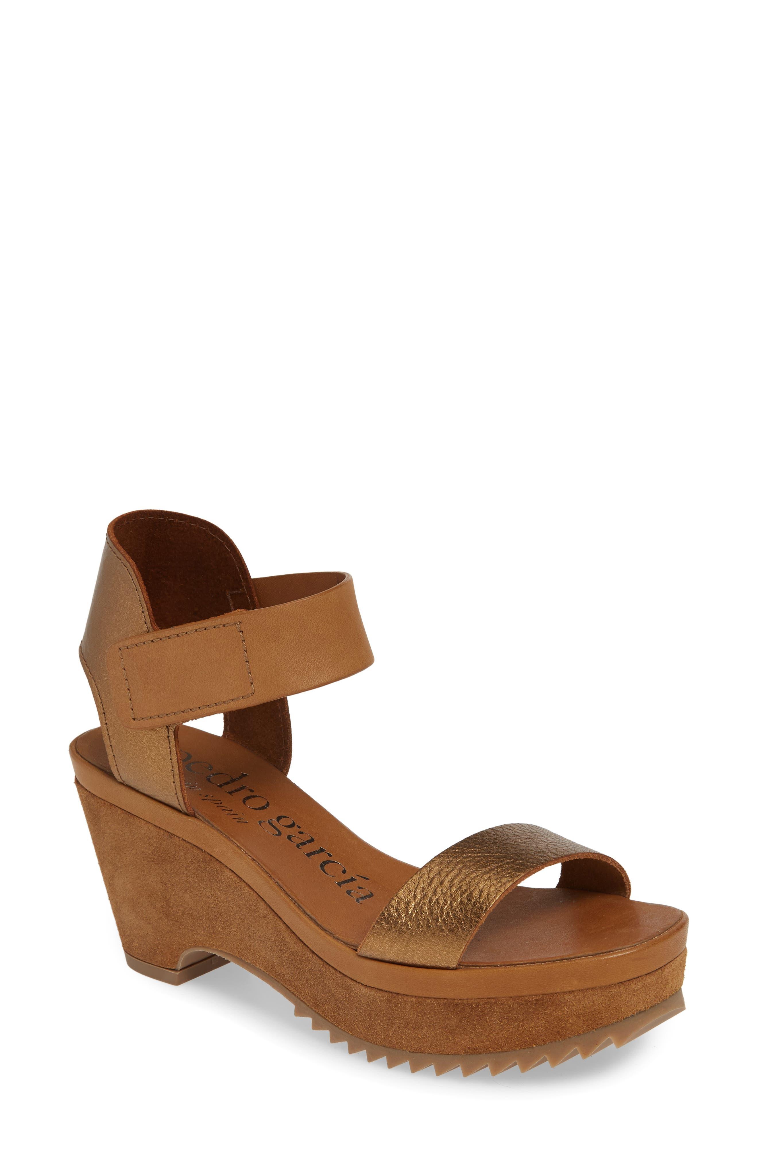 PEDRO GARCIA Franses Flatform Sandal, Main, color, TOBACCO CERVO LAME