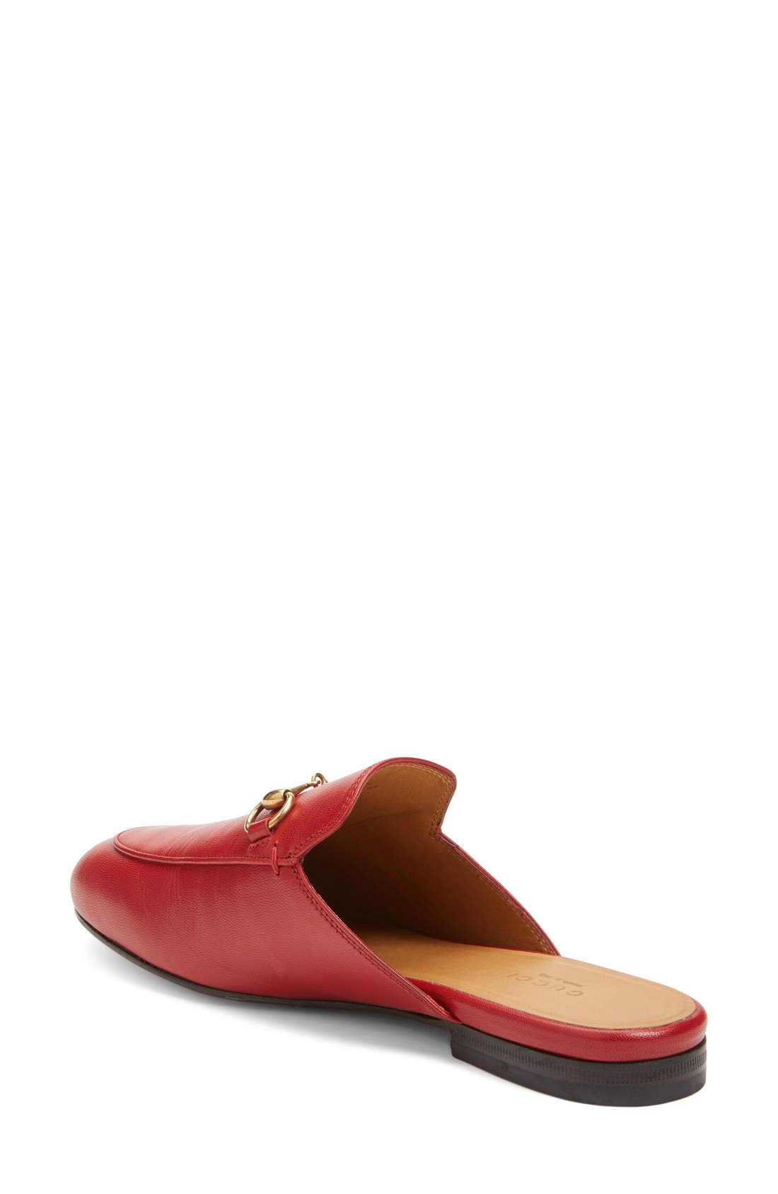 GUCCI, Princetown Loafer Mule, Alternate thumbnail 2, color, RED LEATHER