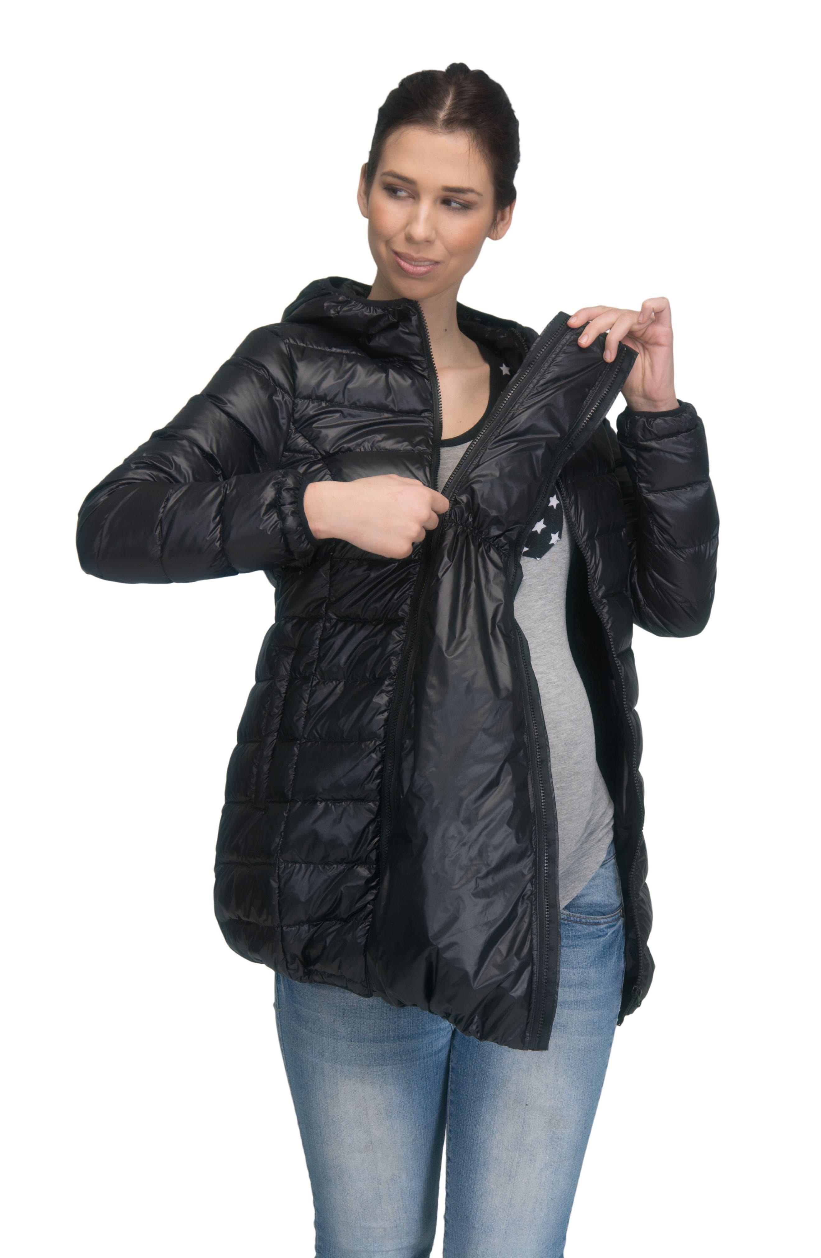 MODERN ETERNITY, Lightweight Down 3-in-1 Maternity/Nursing Jacket, Alternate thumbnail 8, color, BLACK