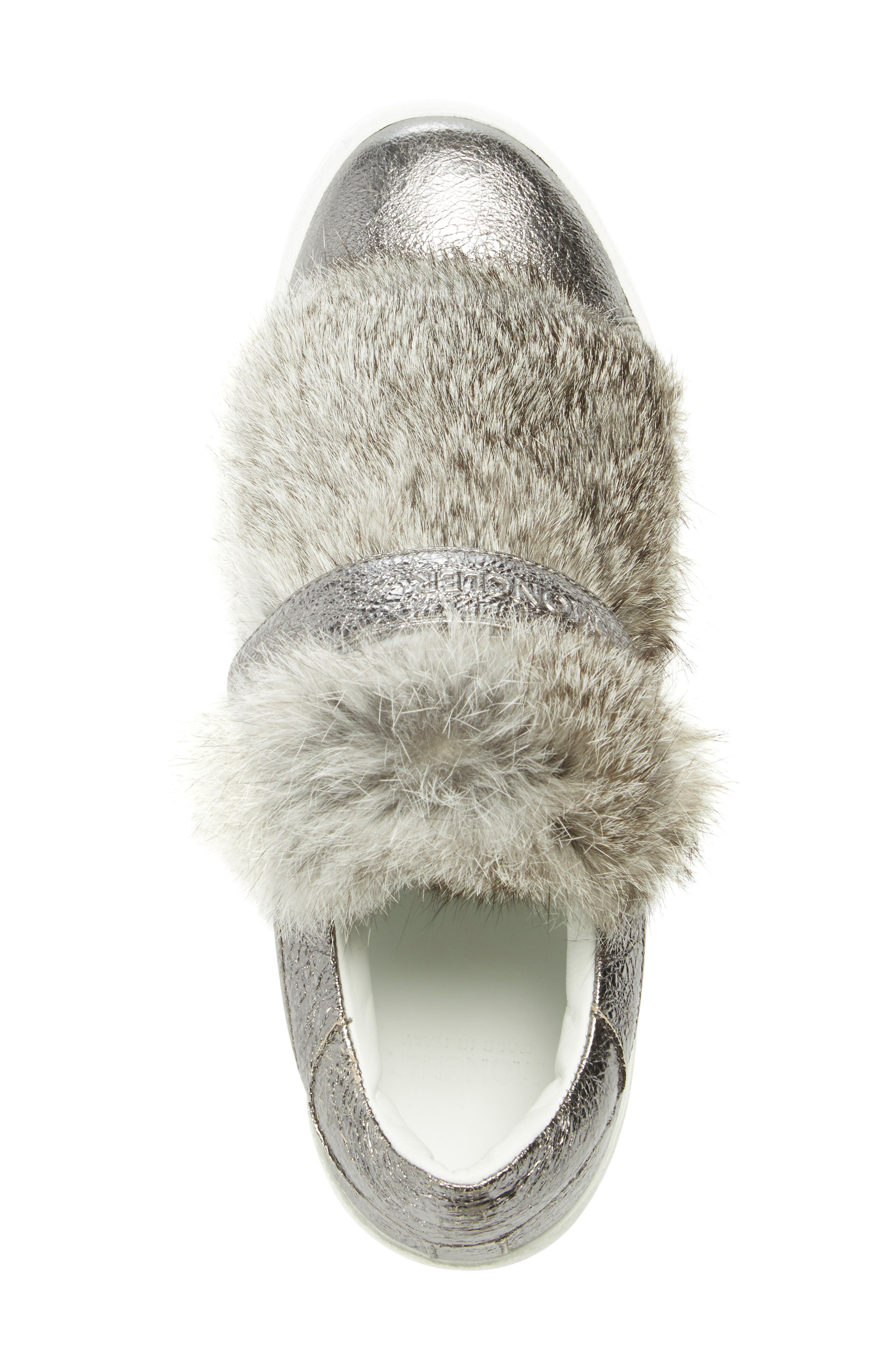 MONCLER, 'Lucie Scarpa' Genuine Rabbit Fur Trim Sneaker, Alternate thumbnail 2, color, 020