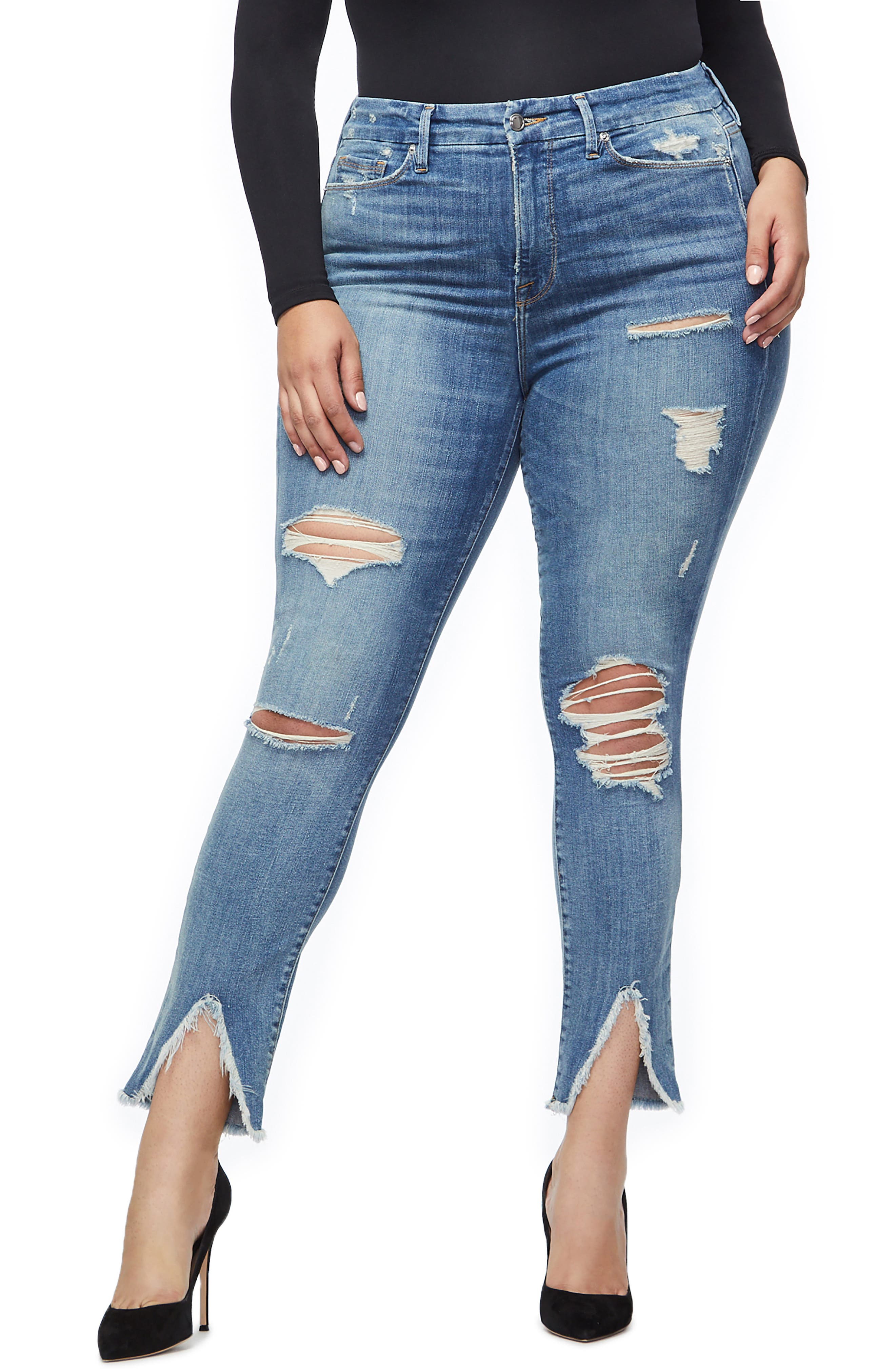 GOOD AMERICAN, Good Legs Ripped Skinny Jeans, Alternate thumbnail 2, color, BLUE 218