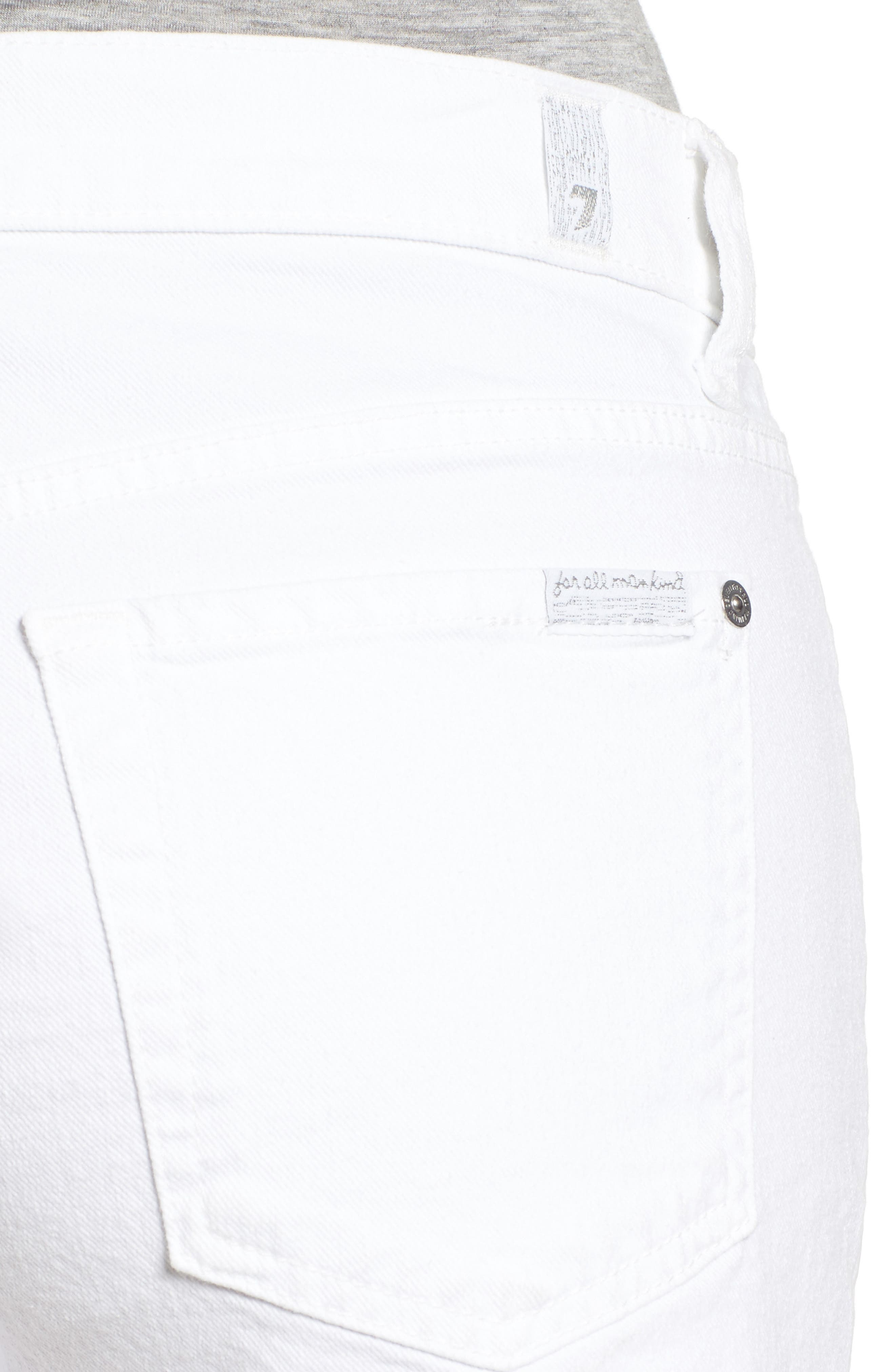 7 FOR ALL MANKIND<SUP>®</SUP>, Cutoff Denim Shorts, Alternate thumbnail 5, color, CLEAN WHITE