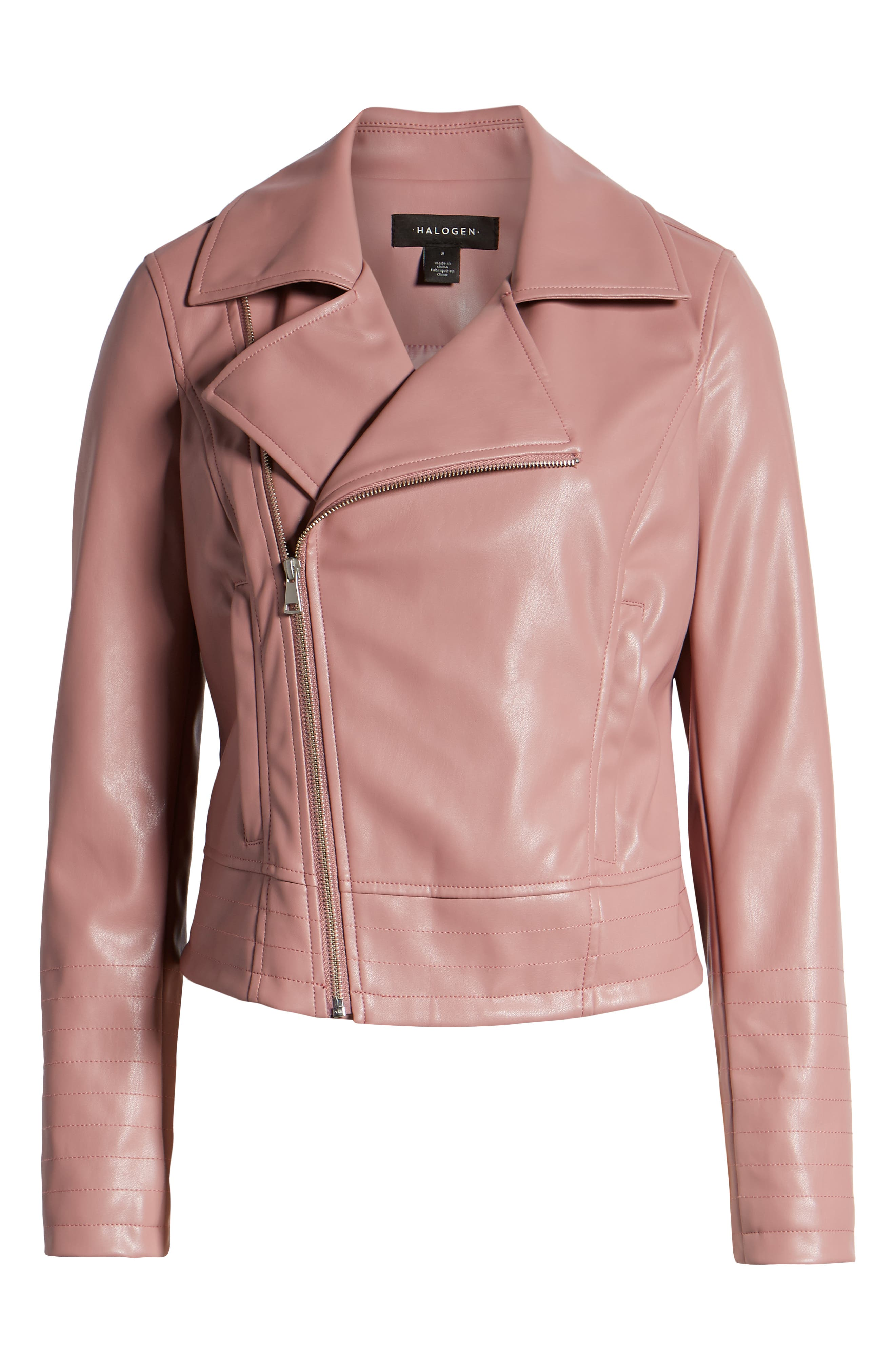HALOGEN<SUP>®</SUP>, Quilted Faux Leather Moto Jacket, Alternate thumbnail 6, color, ROUGE