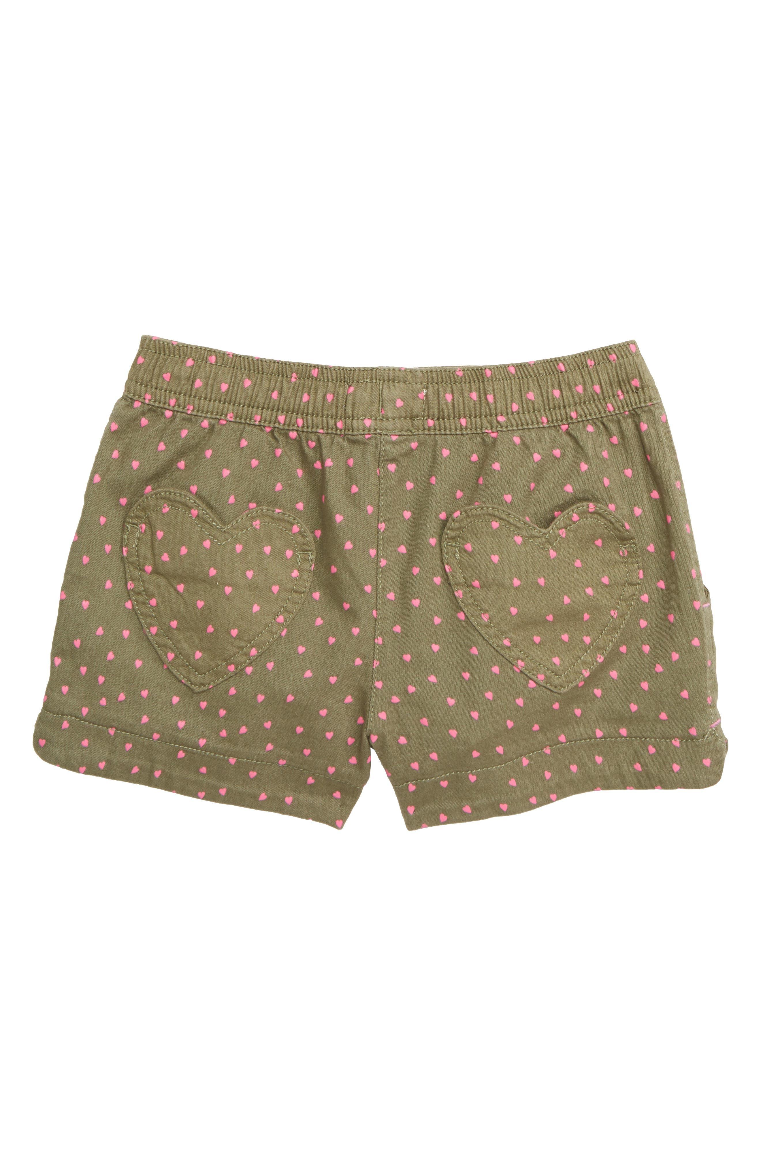 MINI BODEN, Heart Pocket Shorts, Alternate thumbnail 2, color, GRN ARMY GREEN SWEET HEARTS