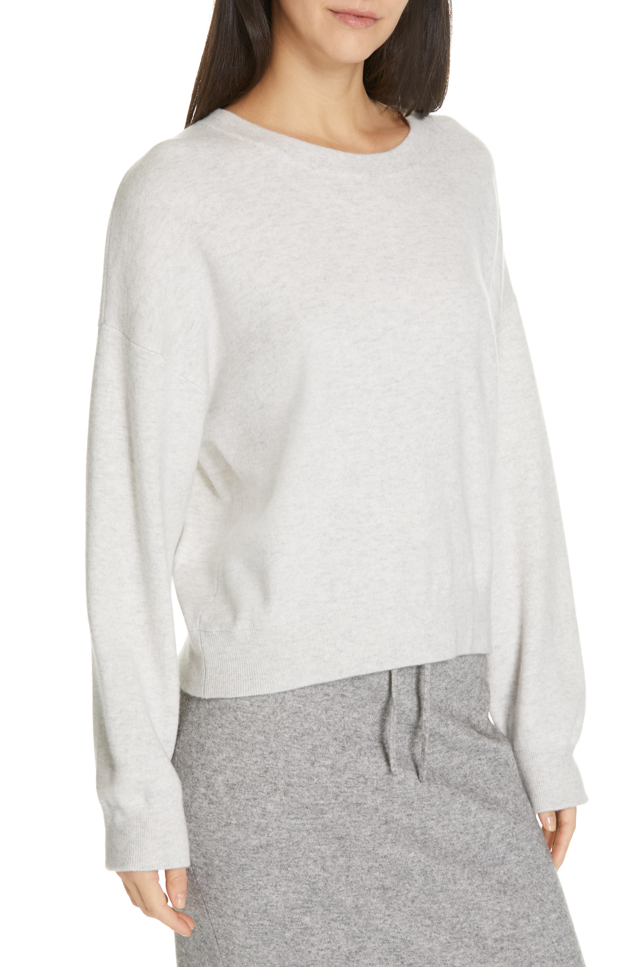 VINCE, Double Layer Sweater, Alternate thumbnail 4, color, H CLOUD/ OPTIC WHITE