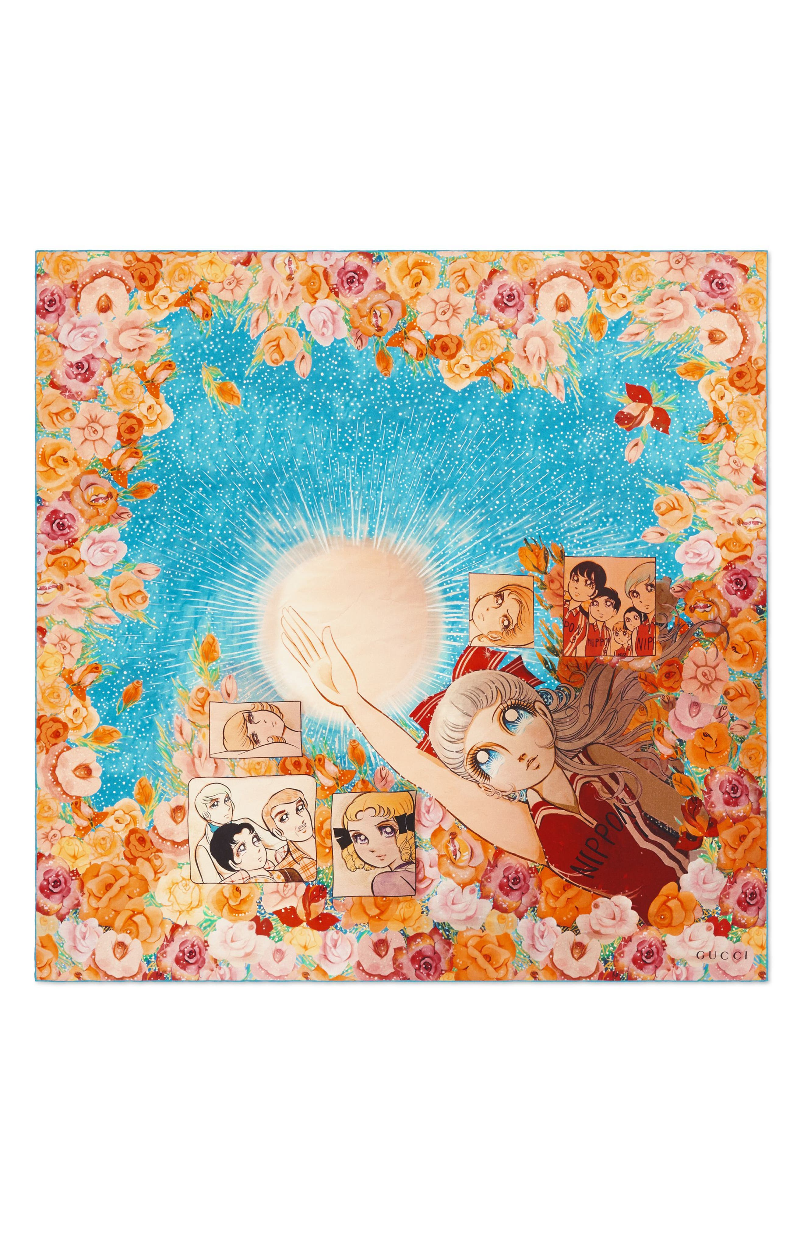 GUCCI, Manga Soul Square Silk Scarf, Main thumbnail 1, color, MULTICOLOR