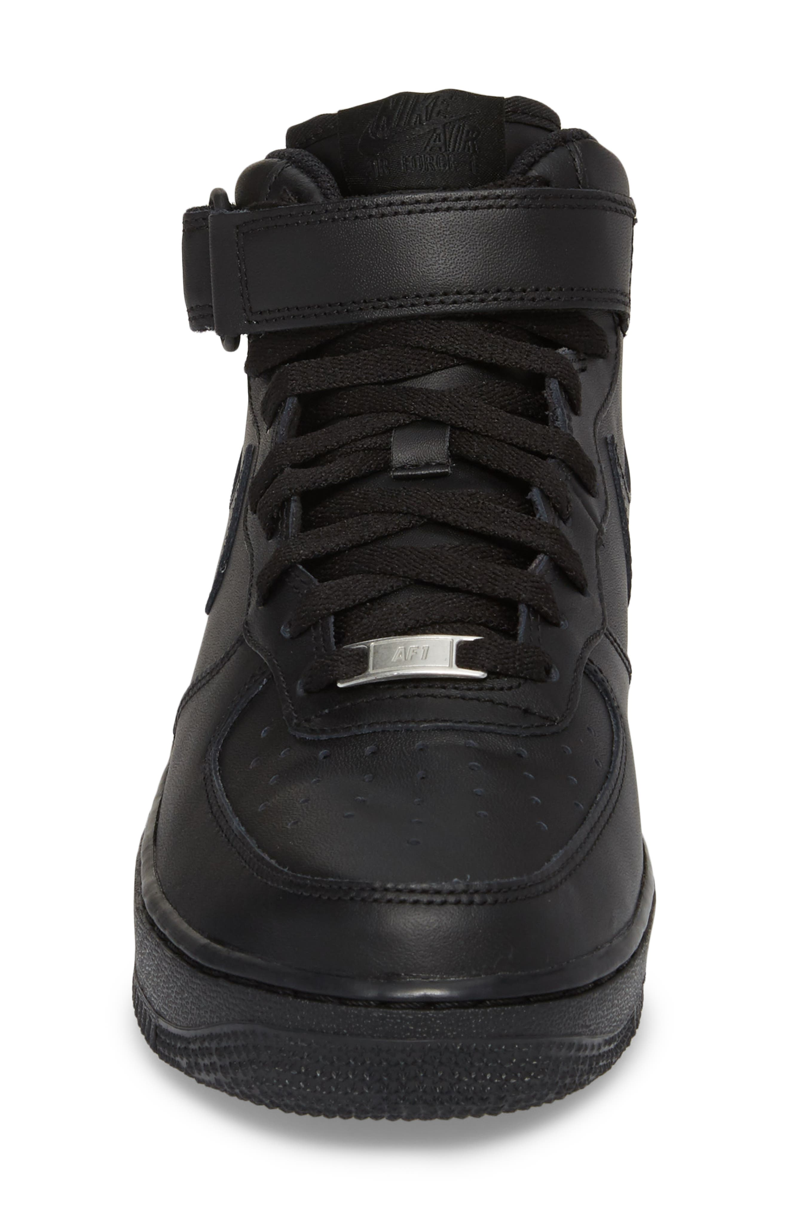 NIKE, Air Force 1 Mid '07 Sneaker, Alternate thumbnail 4, color, BLACK/ BLACK
