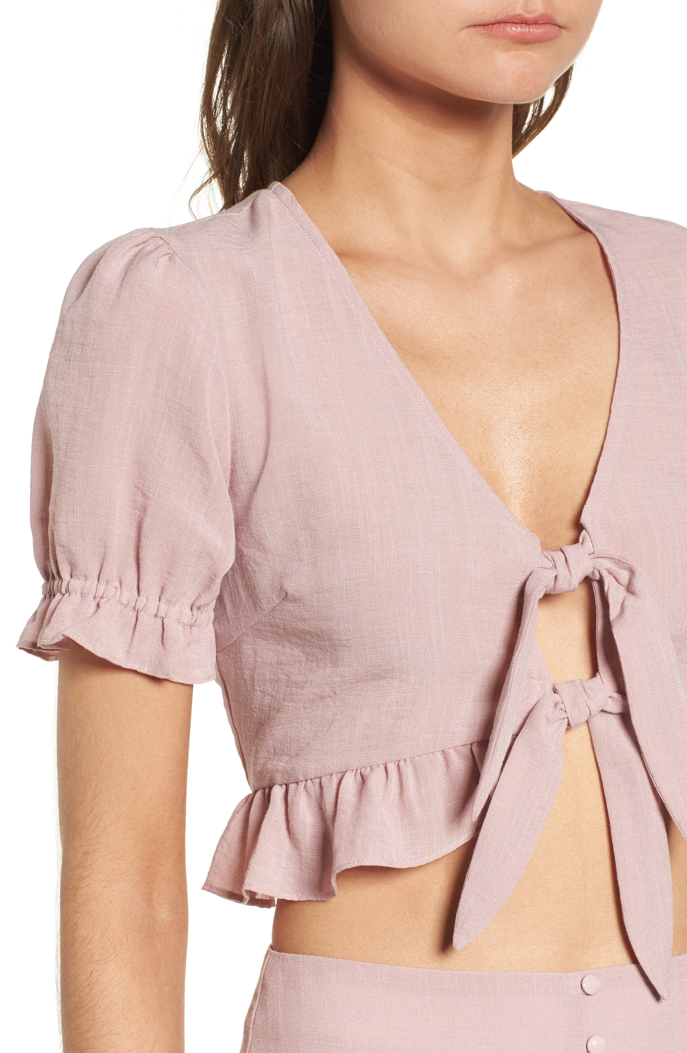 LOST + WANDER, Peony Ruffle Tie Front Crop Top, Alternate thumbnail 4, color, 681