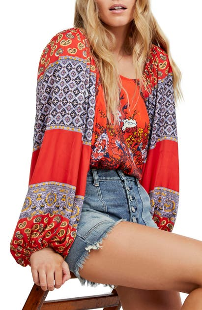Free People Tops Positano Print Blouse