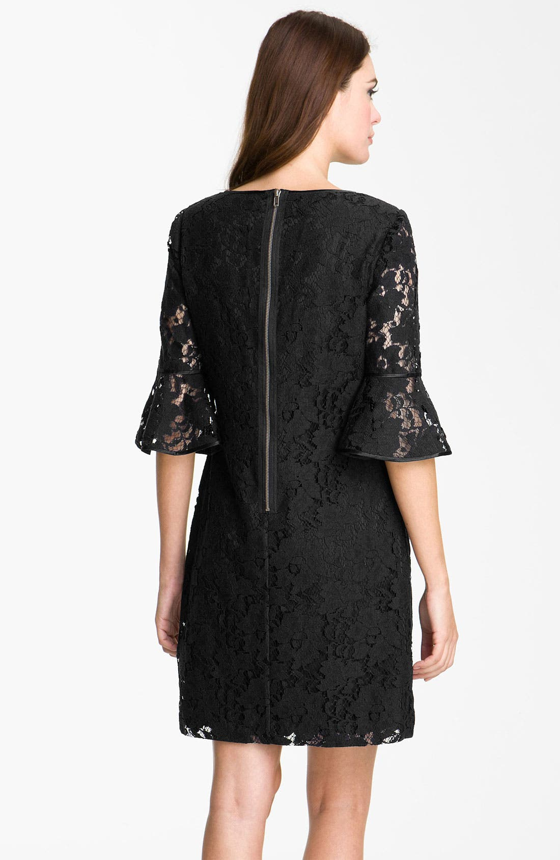ADRIANNA PAPELL, Ruffle Sleeve Lace Dress, Alternate thumbnail 3, color, 001