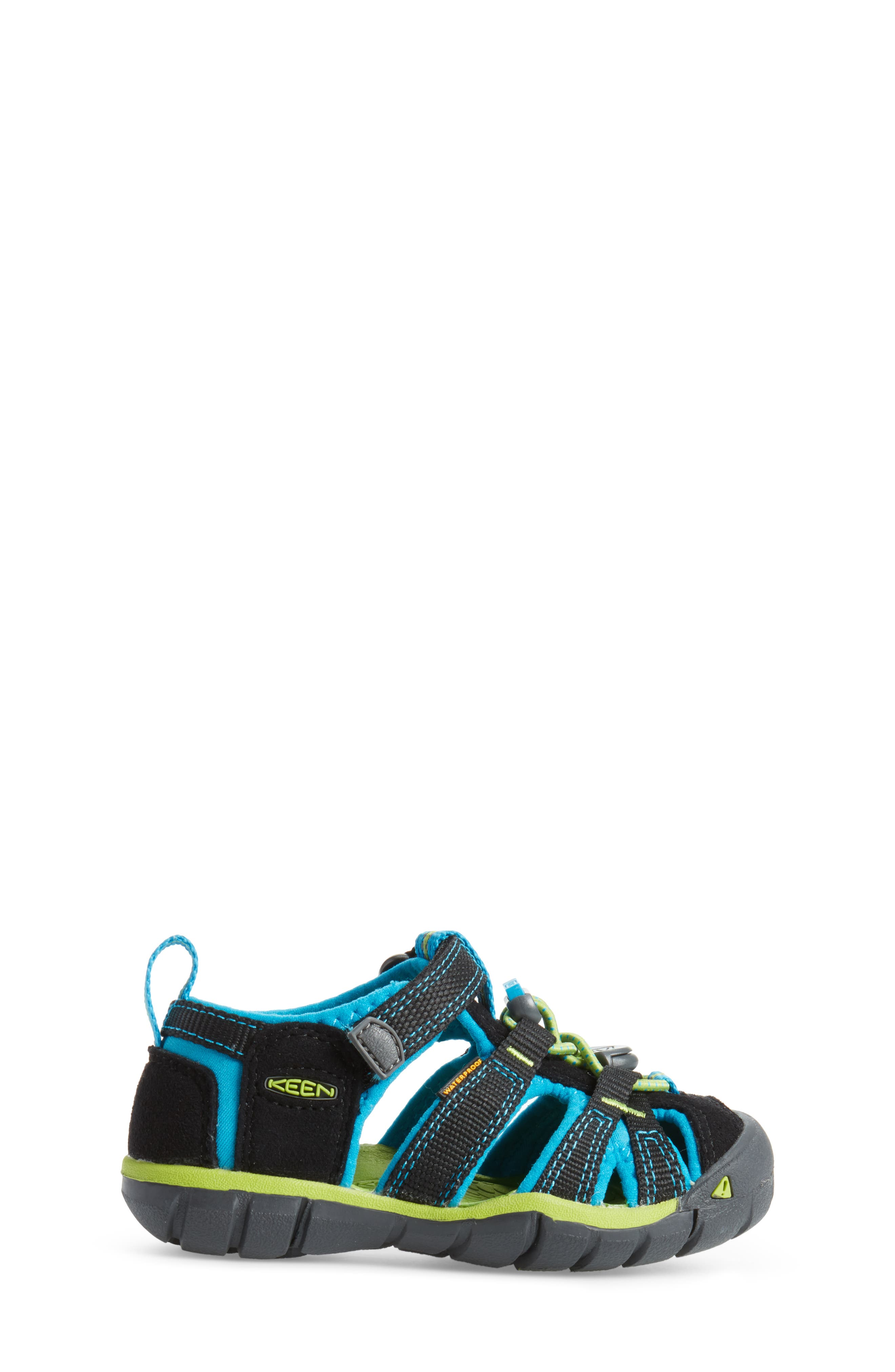 KEEN, 'Seacamp II' Water Friendly Sandal, Alternate thumbnail 3, color, BLACK/ BLUE DANUBE