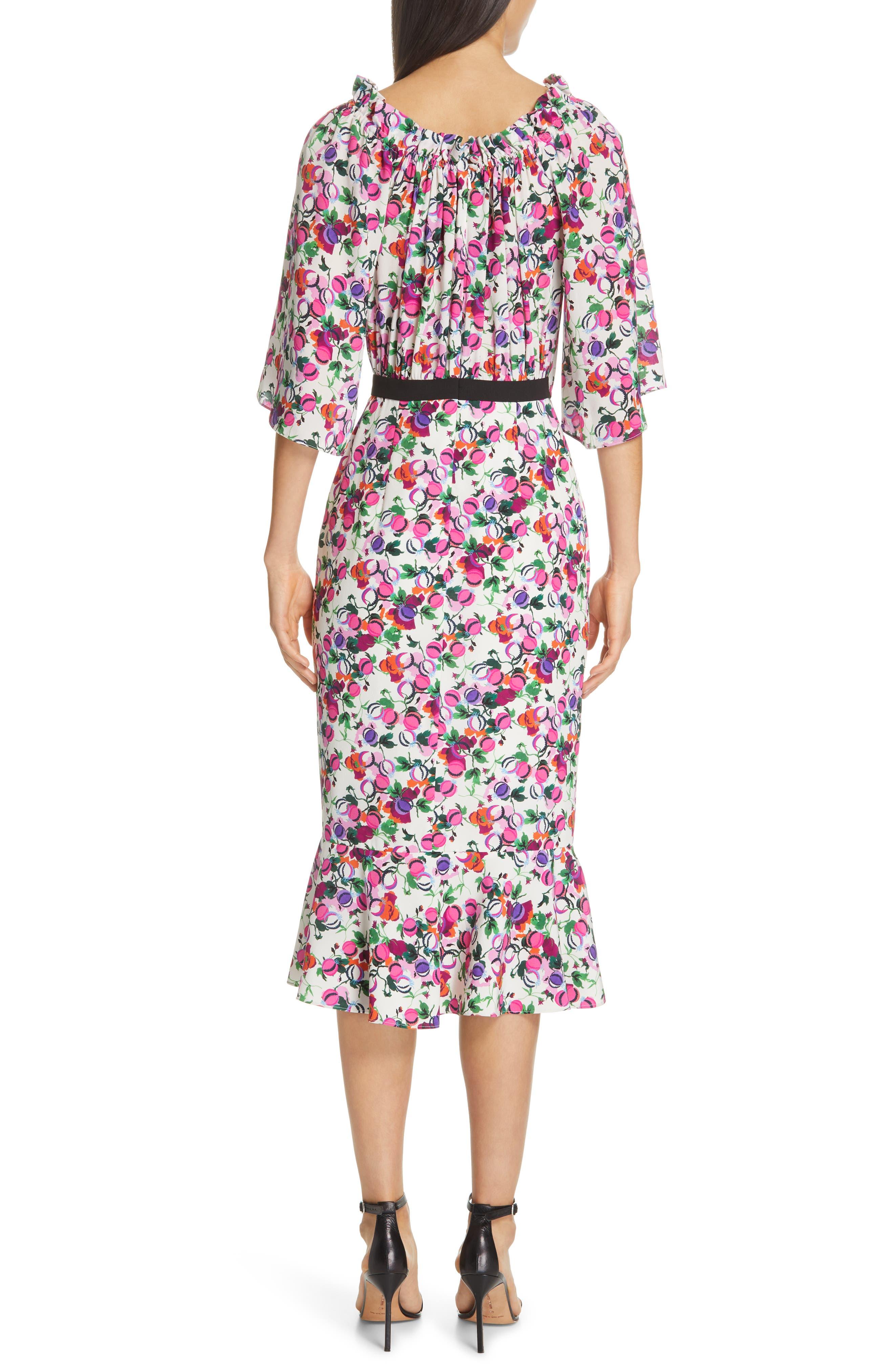 SALONI, Olivia Floral Print Off the Shoulder Midi Dress, Alternate thumbnail 2, color, ROSE BOUNTY BLACK