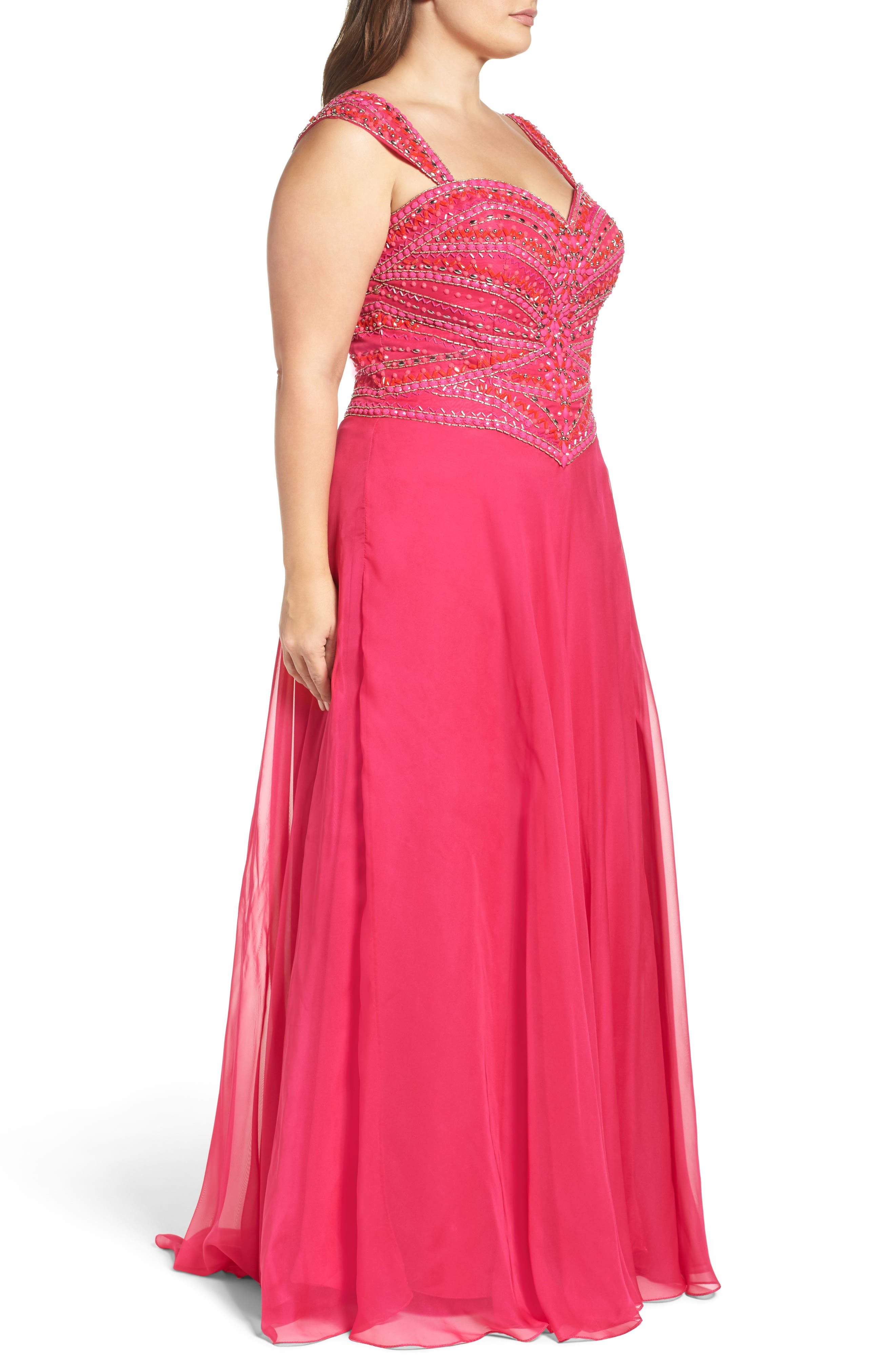 MAC DUGGAL, Embellished Gown, Alternate thumbnail 3, color, LIPSTICK