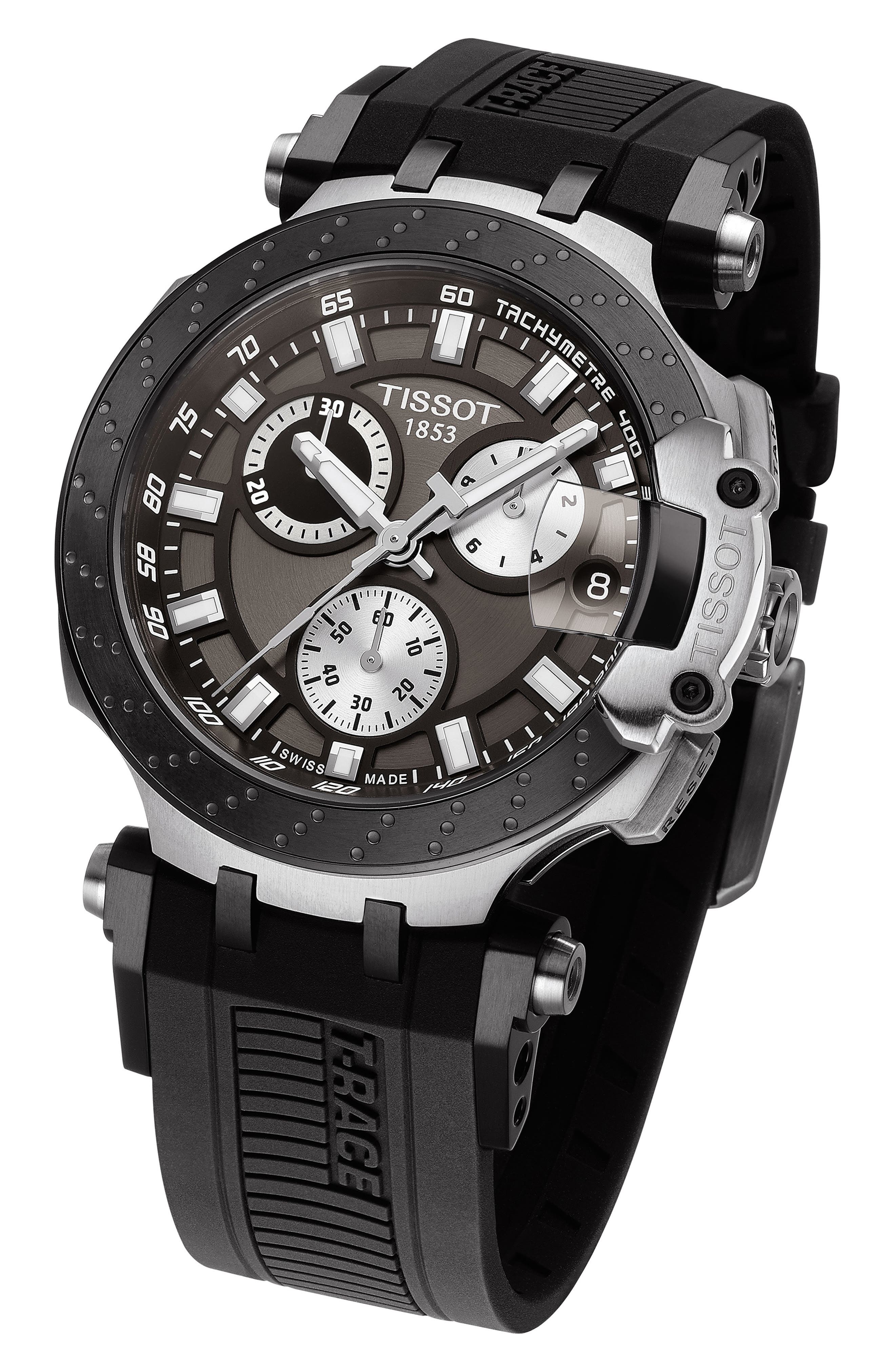 TISSOT, T-Race Chronograph Silicone Strap Watch, 48mm, Alternate thumbnail 3, color, BLACK/ ANTHRACITE/ SILVER