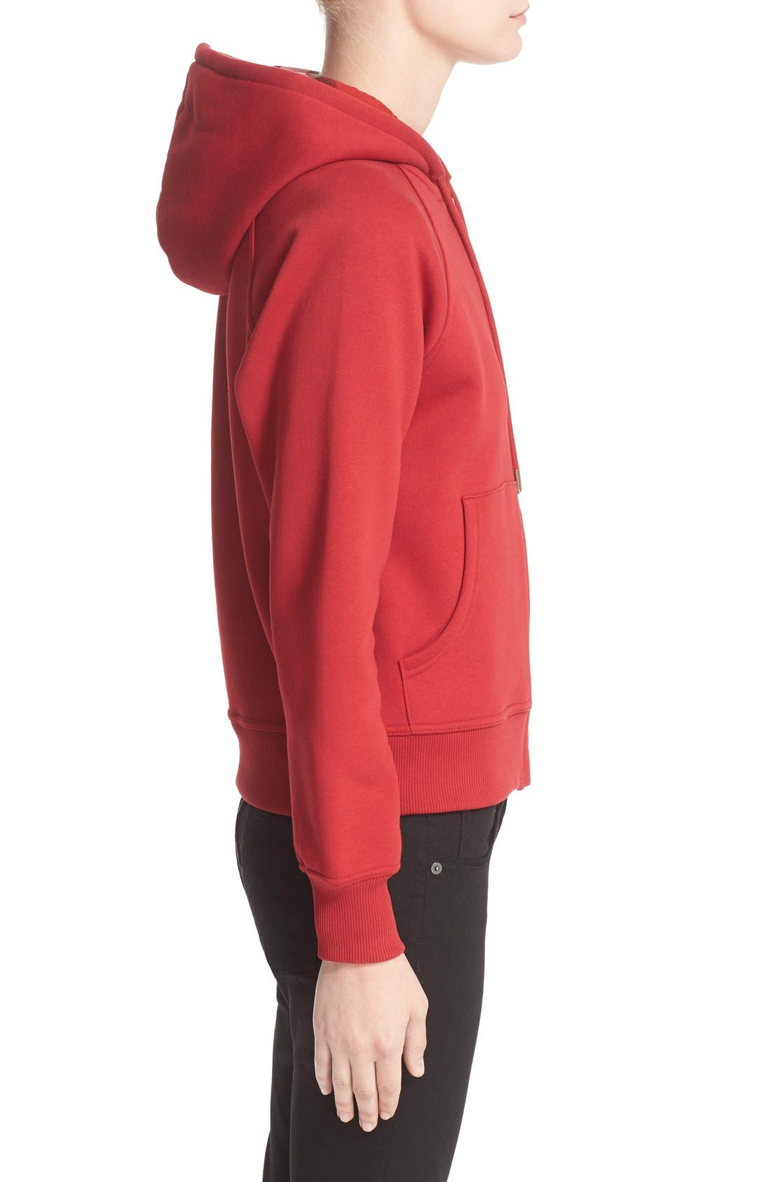 BURBERRY, Check Print Hoodie, Alternate thumbnail 8, color, PARADE RED