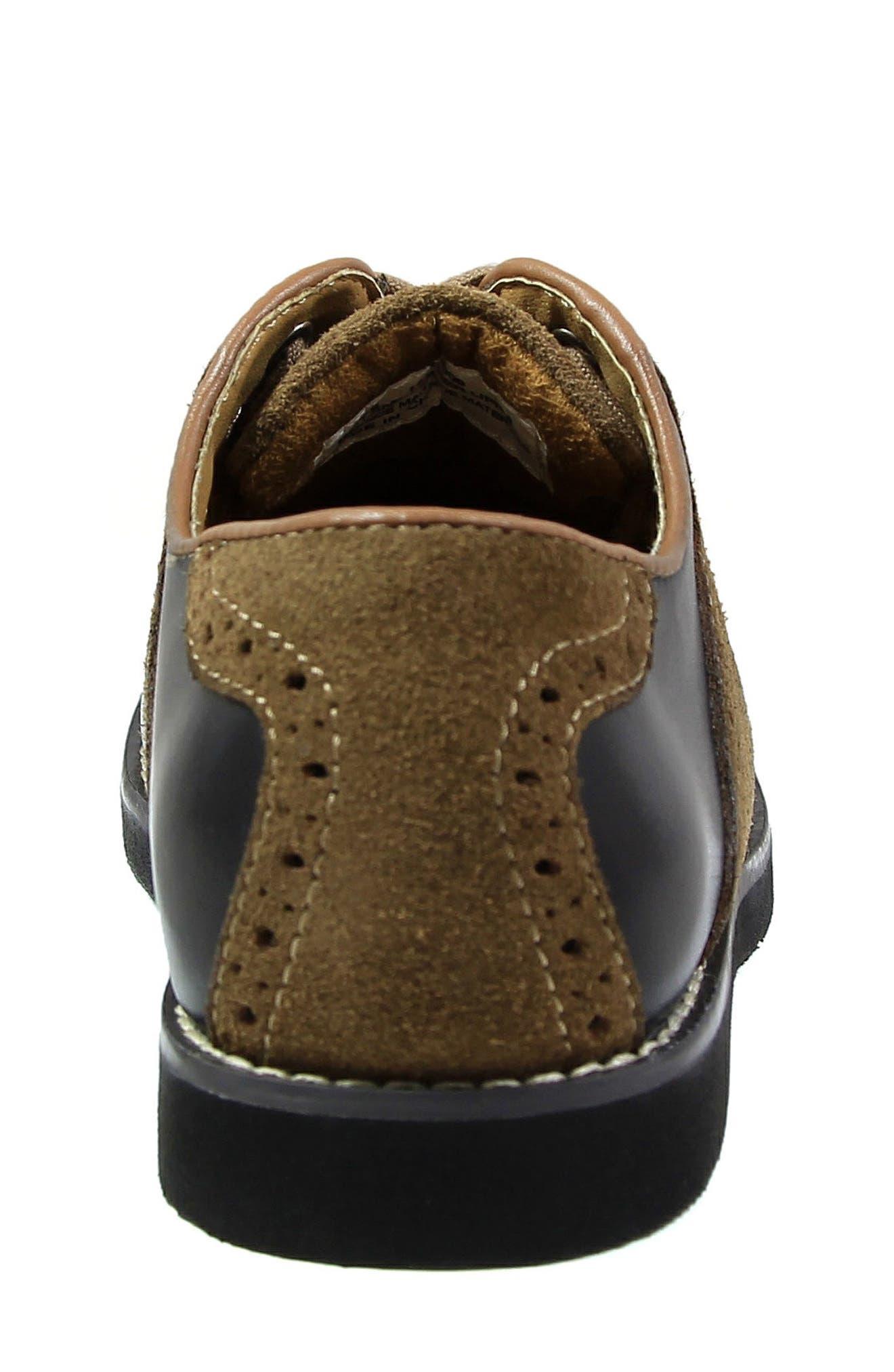FLORSHEIM, 'Kennett Jr. II' Saddle Shoe, Alternate thumbnail 6, color, SMOOTH BLACK W/ MOCHA SUEDE