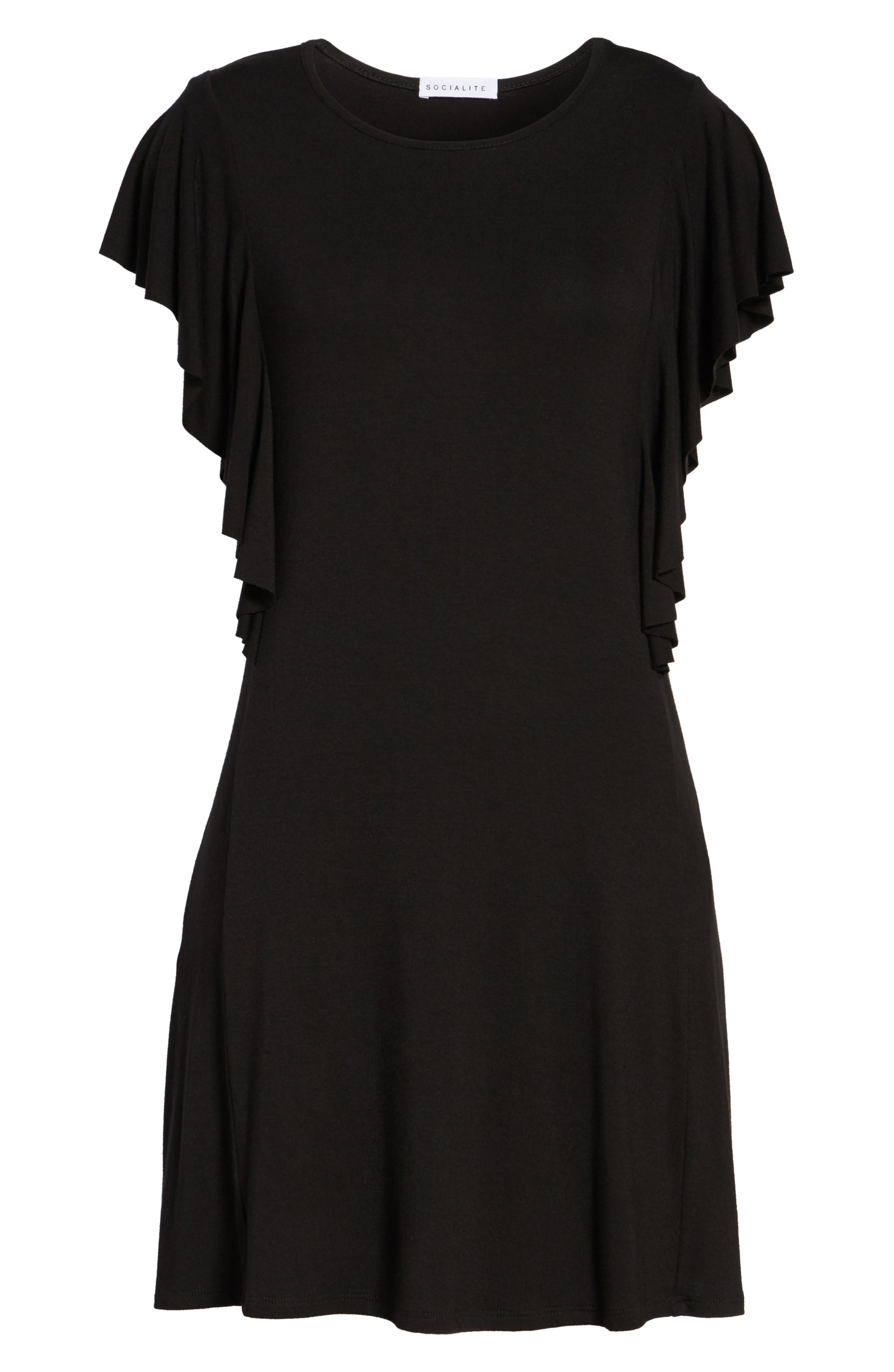 SOCIALITE, Ruffle Sleeve T-Shirt Dress, Alternate thumbnail 6, color, 001