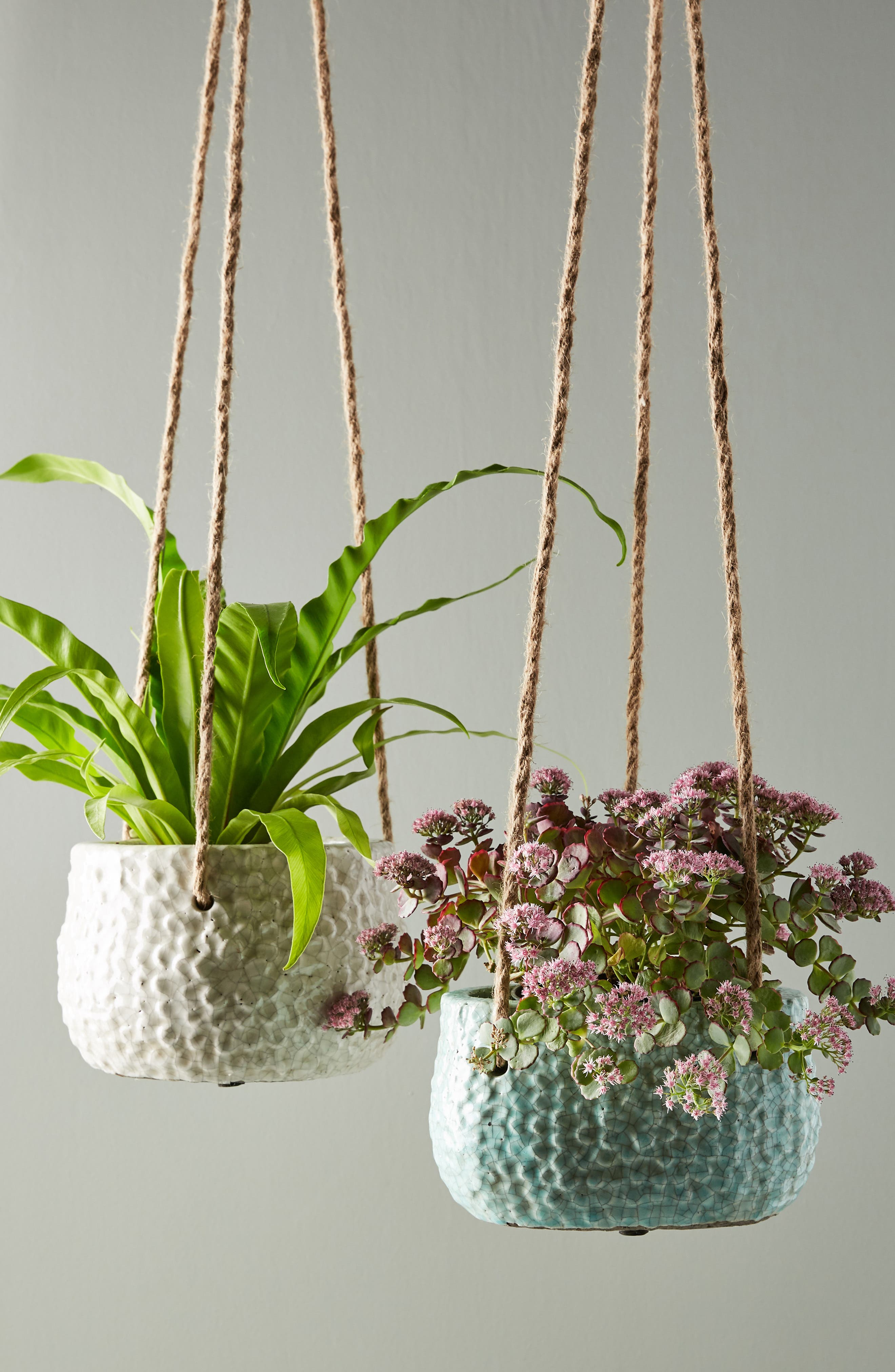 ANTHROPOLOGIE Dune Hanging Pot, Main, color, WHITE - SMALL