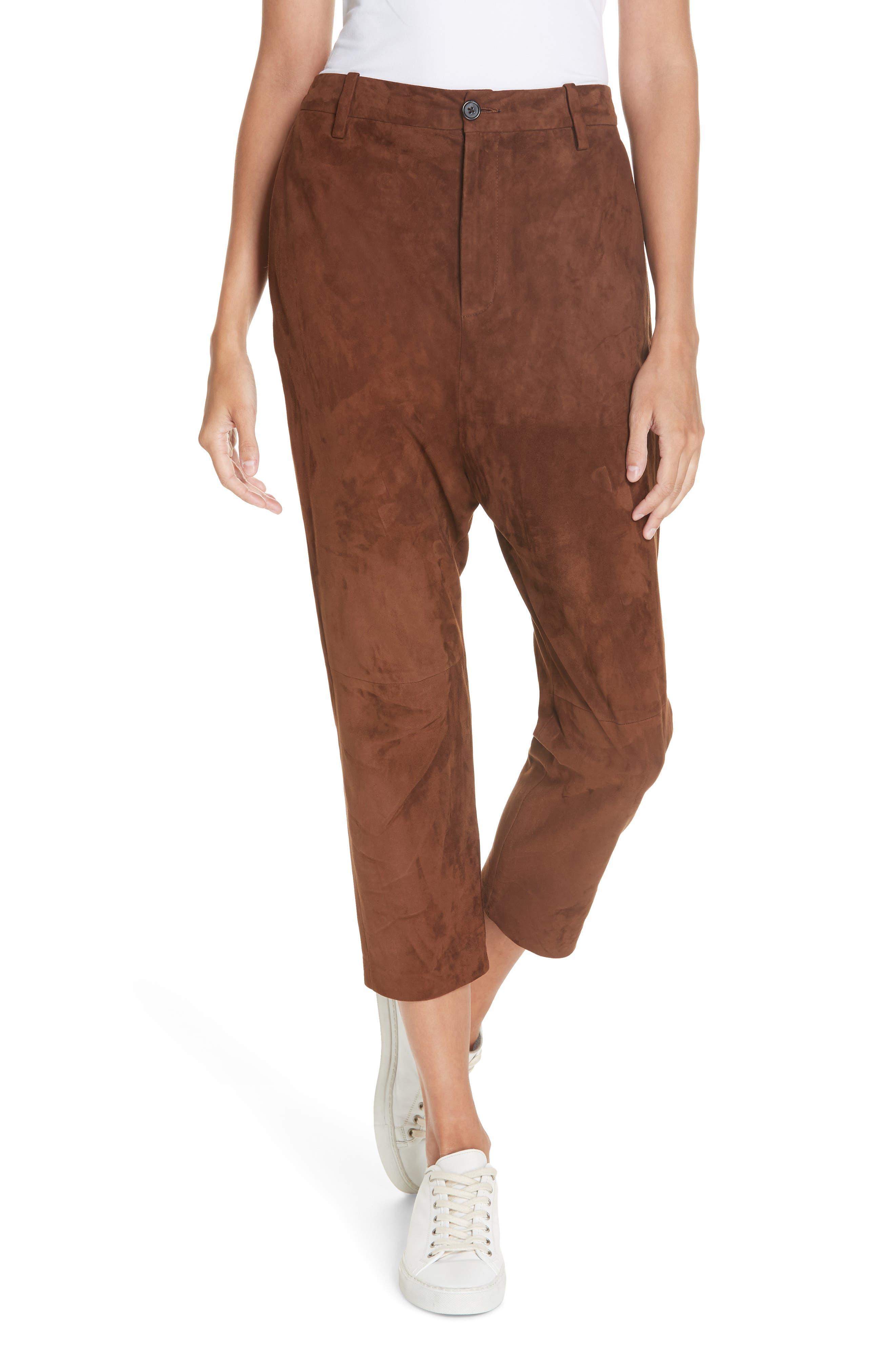 NILI LOTAN Paris Leather Pants, Main, color, DARK COGNAC