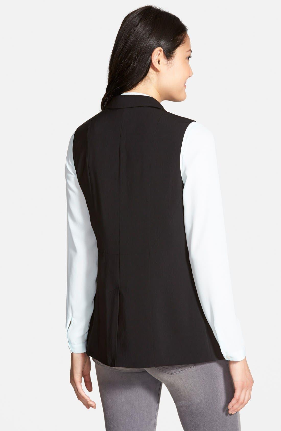 HALOGEN<SUP>®</SUP>, Shawl Collar Vest, Alternate thumbnail 2, color, 001