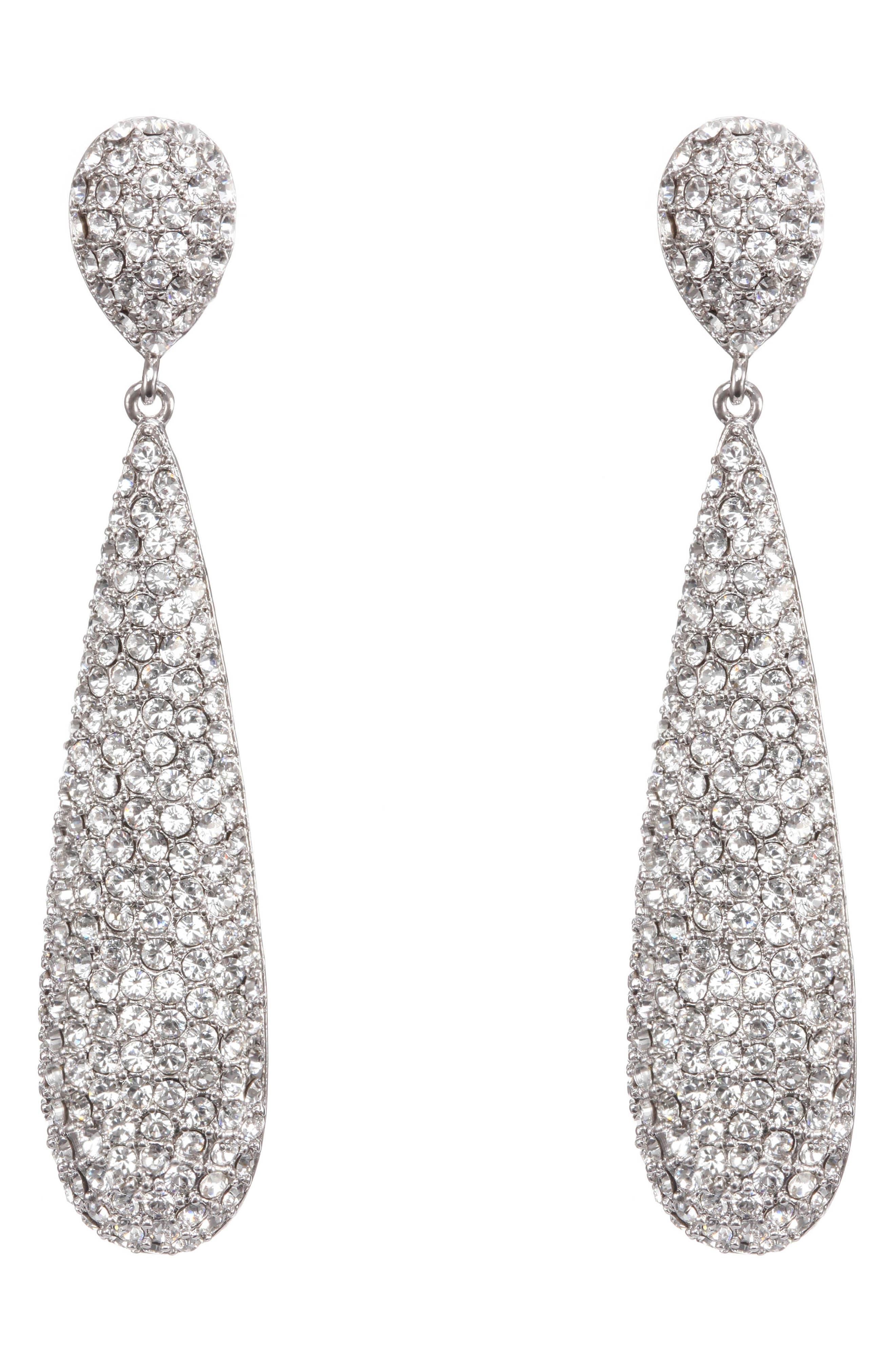 NINA, Elongated Pavé Swarovski Crystal Teardrop Earrings, Main thumbnail 1, color, WHITE/ SILVER