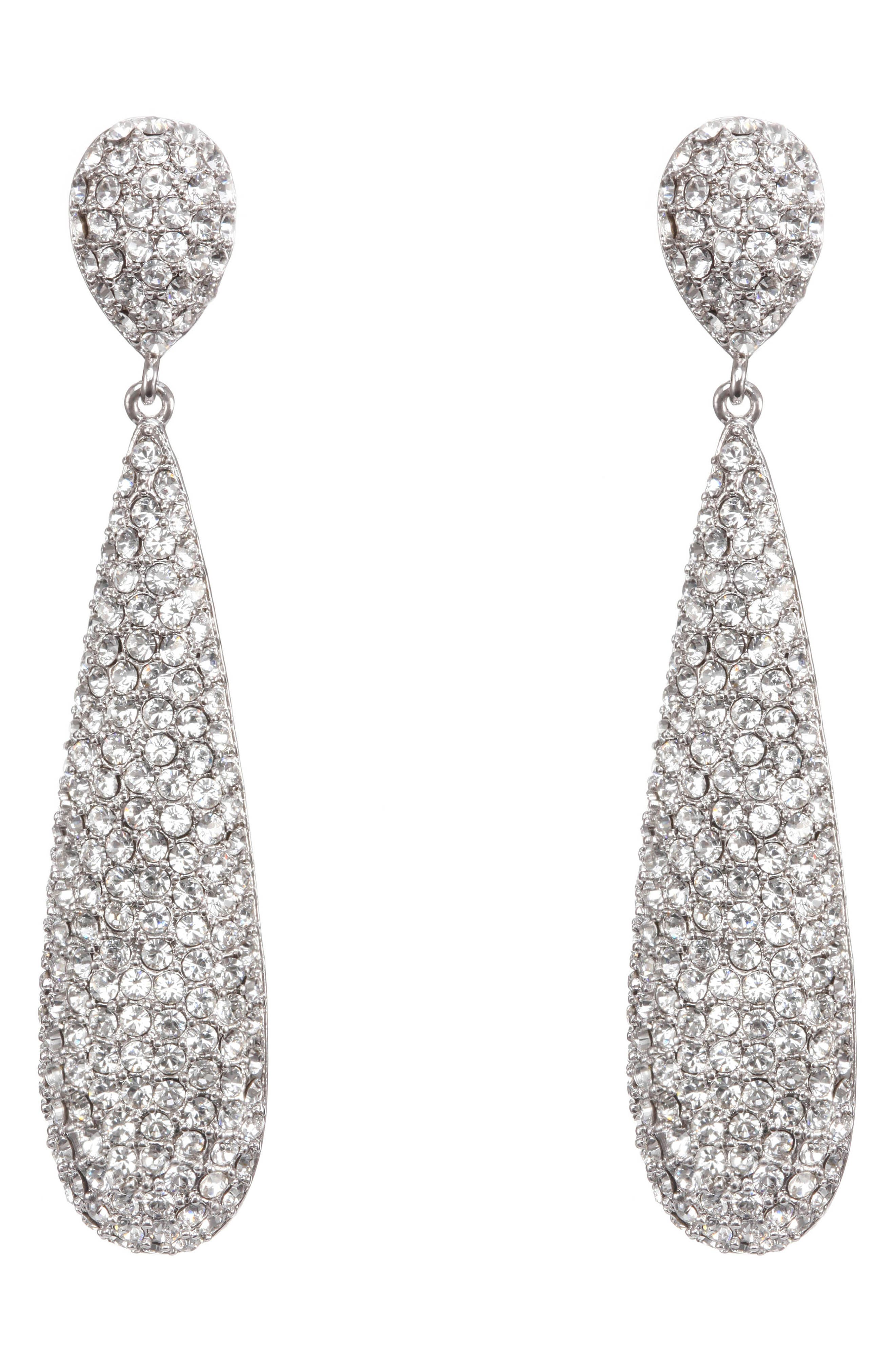 NINA Elongated Pavé Swarovski Crystal Teardrop Earrings, Main, color, WHITE/ SILVER
