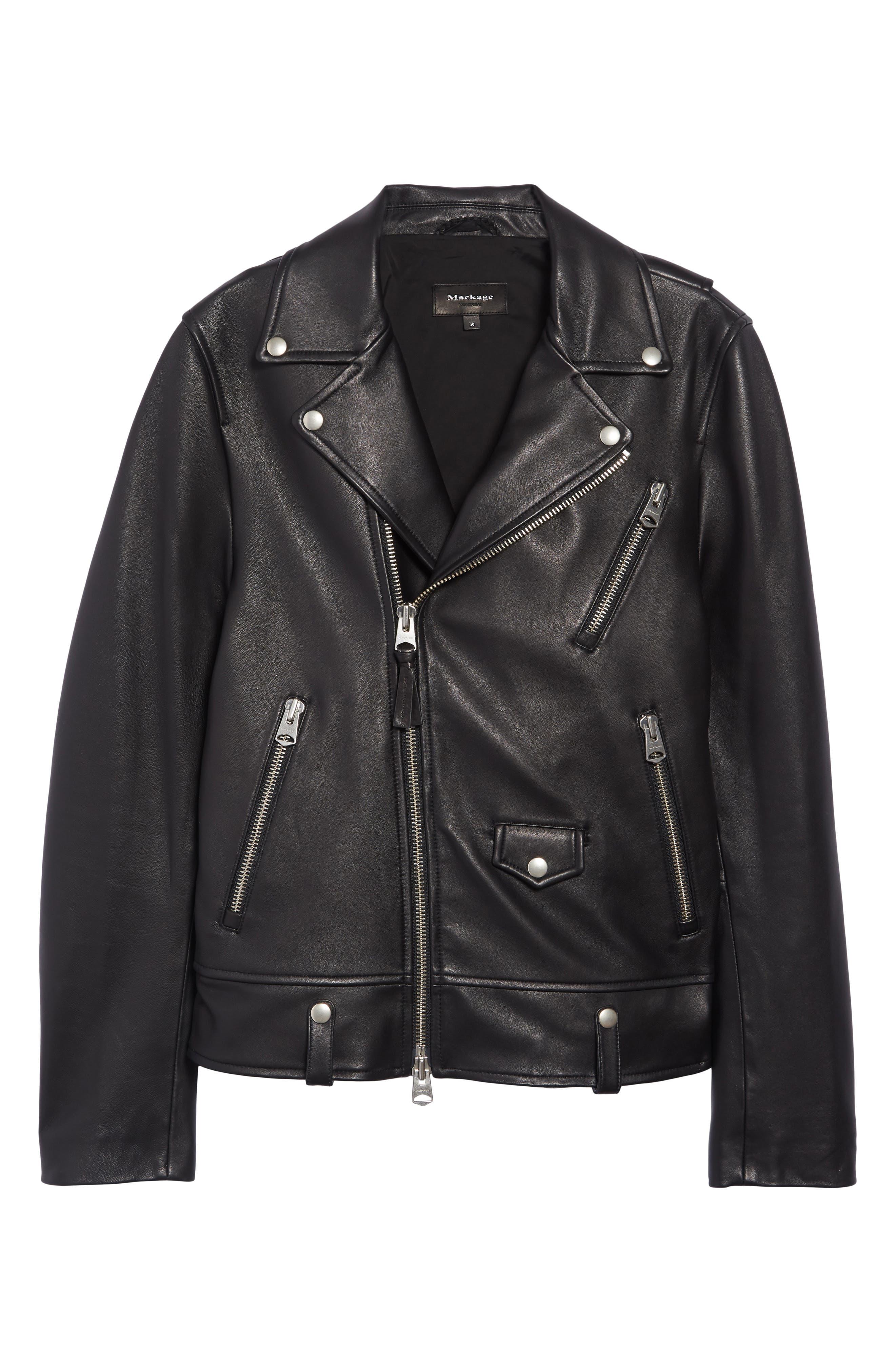 MACKAGE, Fenton Leather Moto Jacket, Alternate thumbnail 5, color, BLACK