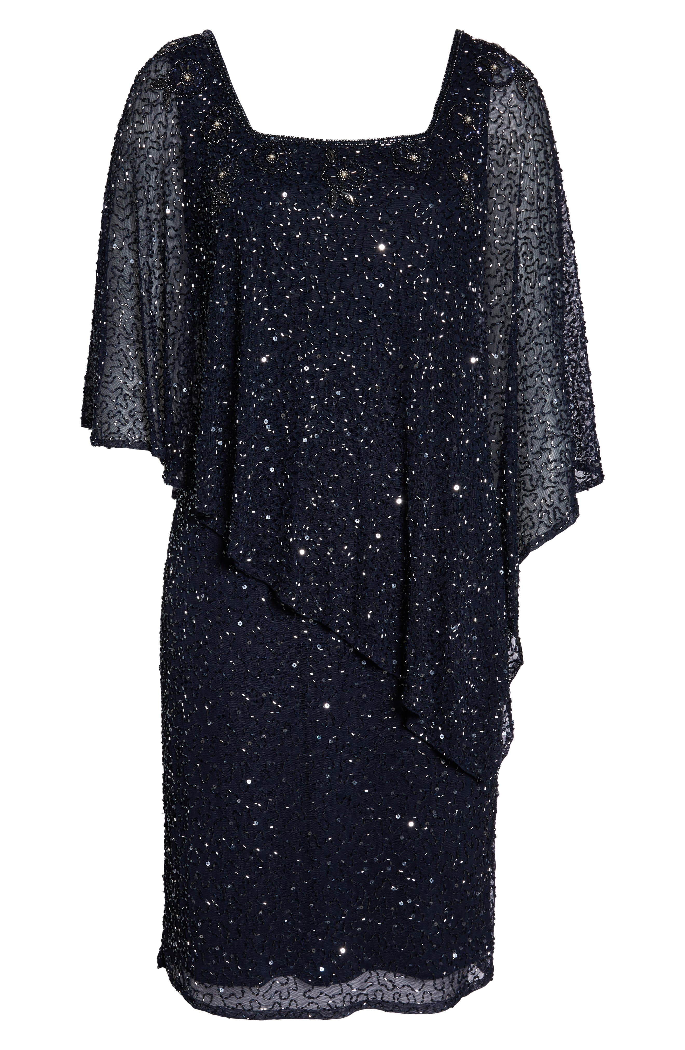 PISARRO NIGHTS, Beaded Cape Dress, Alternate thumbnail 7, color, NAVY