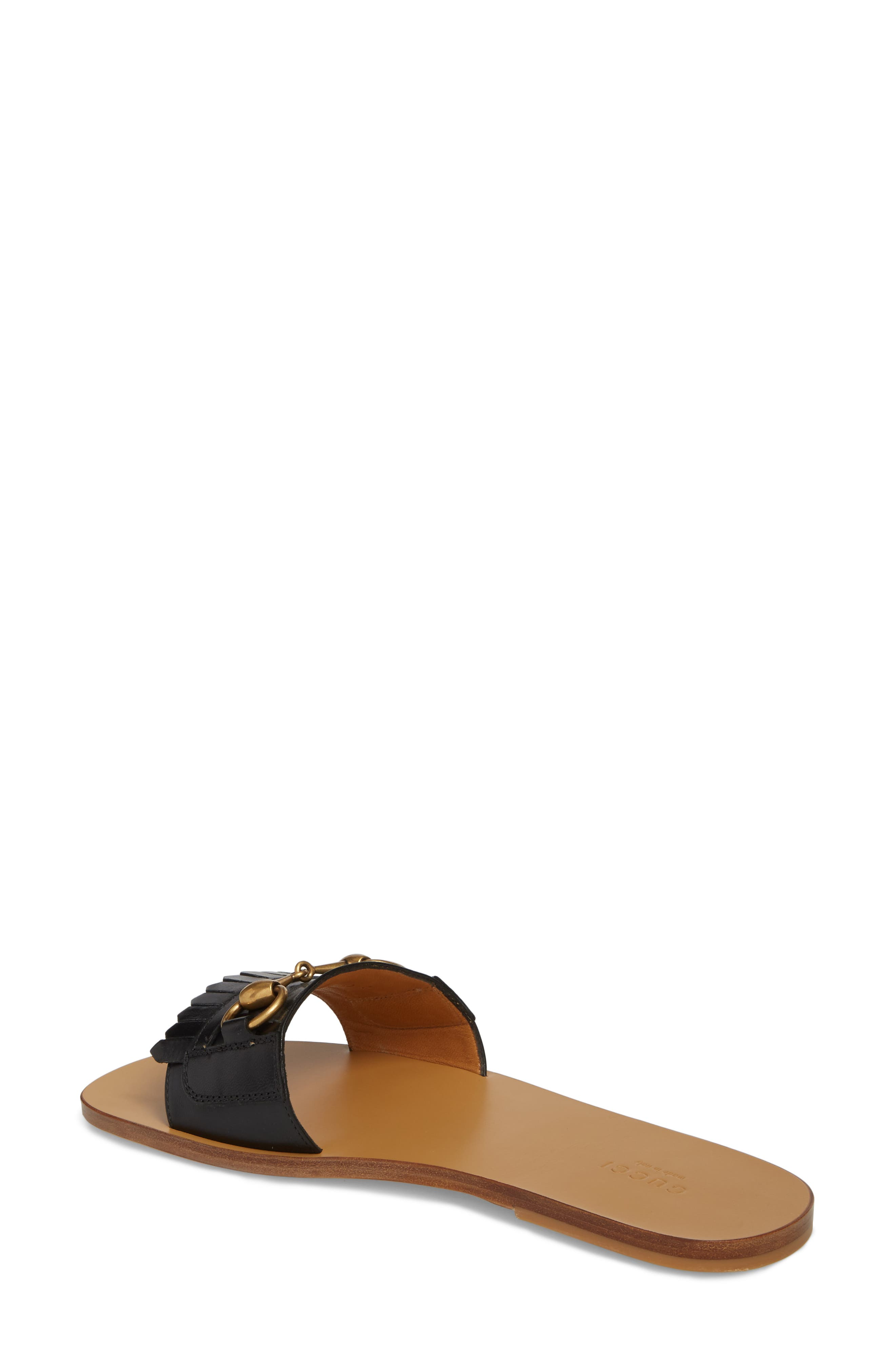 GUCCI, Slide Sandal, Alternate thumbnail 2, color, BLACK