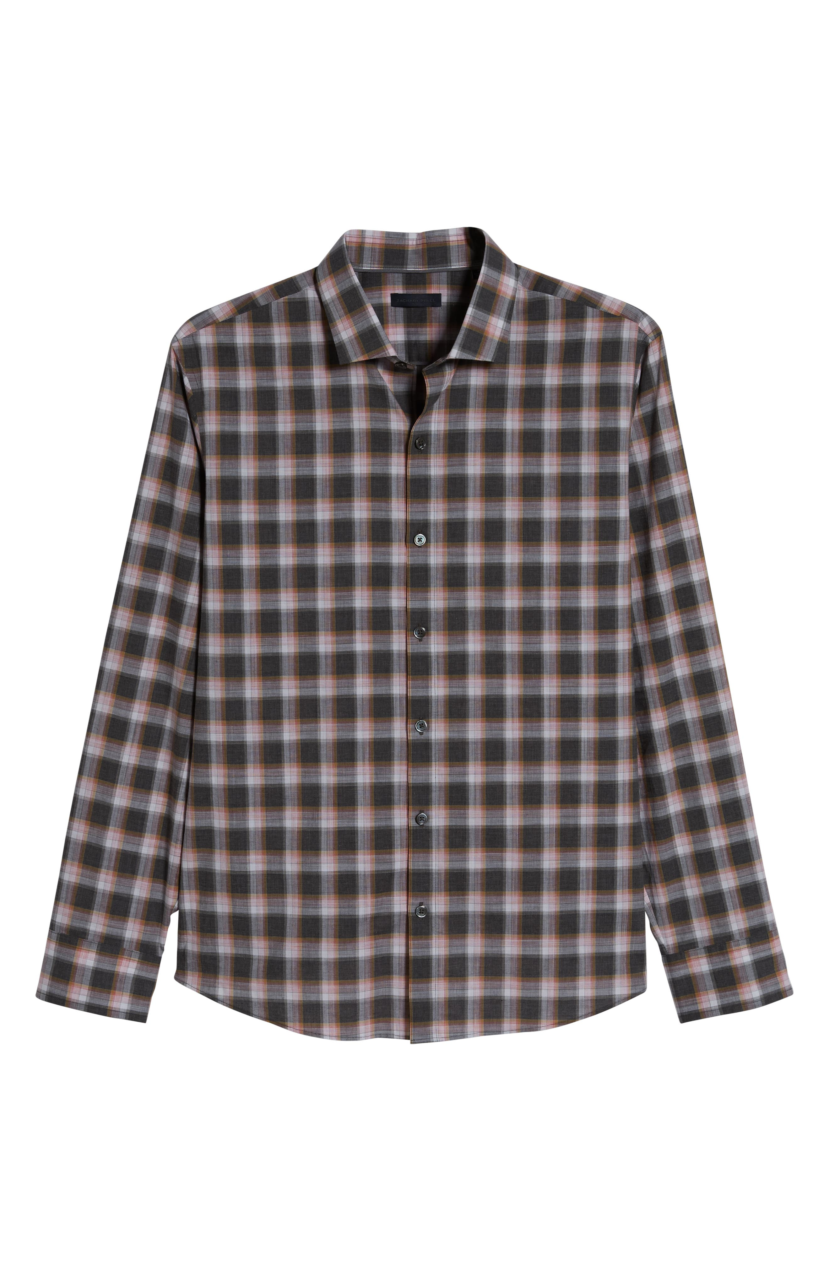 ZACHARY PRELL, Pagatpatan Regular Fit Plaid Sport Shirt, Alternate thumbnail 5, color, GREY