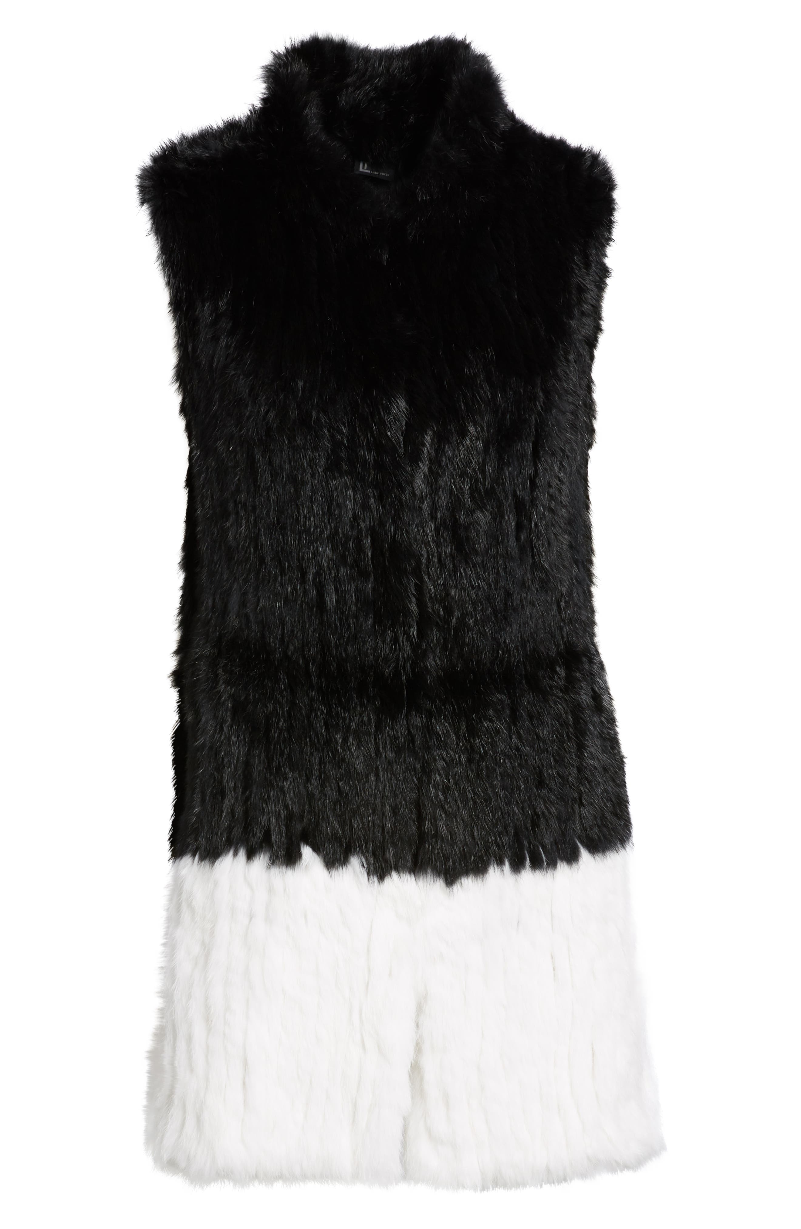 LOVE TOKEN, Long Colorblock Genuine Rabbit Fur Vest, Alternate thumbnail 6, color, 001
