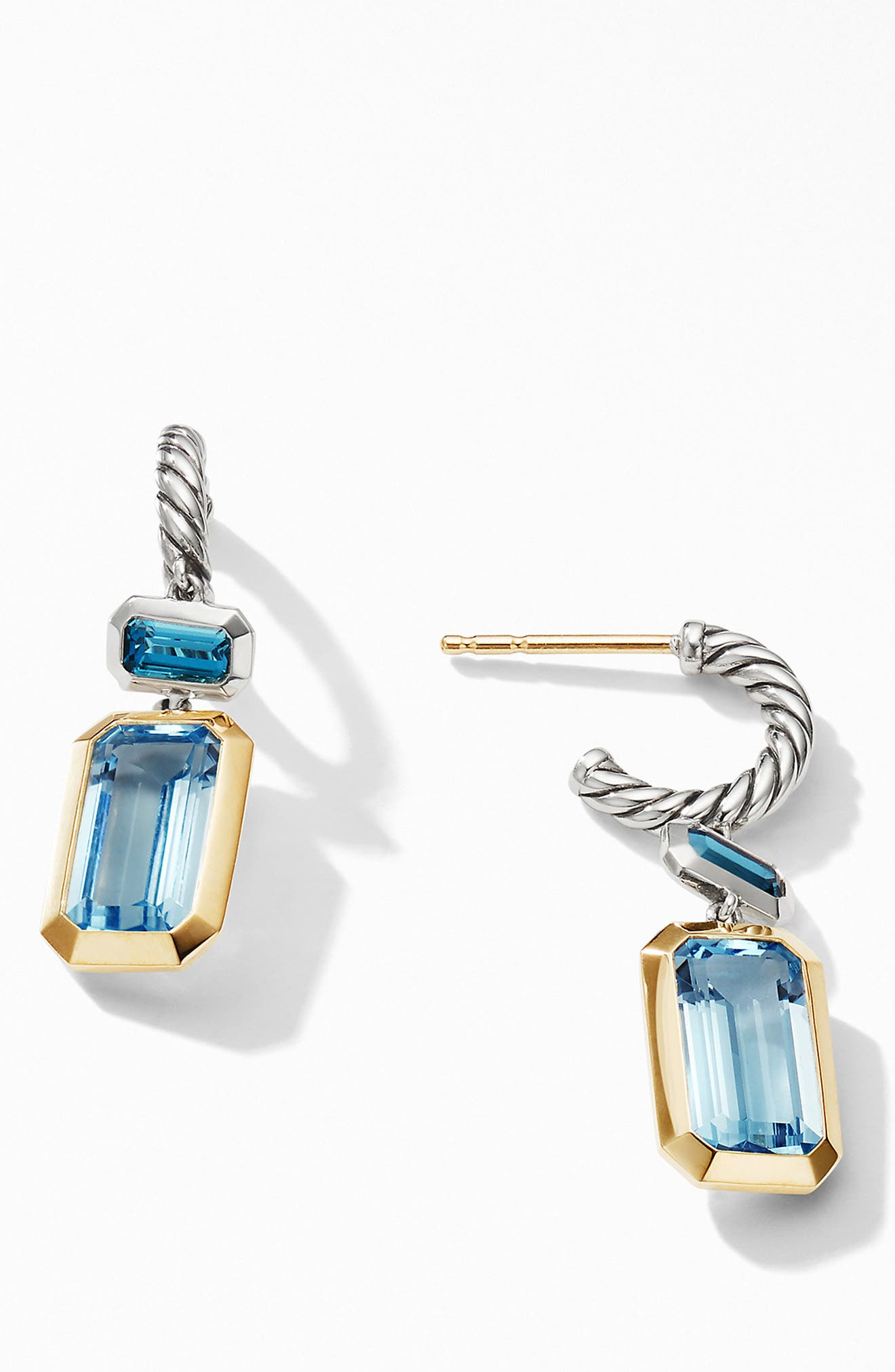 DAVID YURMAN, Novella Drop Earrings with 18K Yellow Gold, Alternate thumbnail 2, color, SKY BLUE TOPAZ