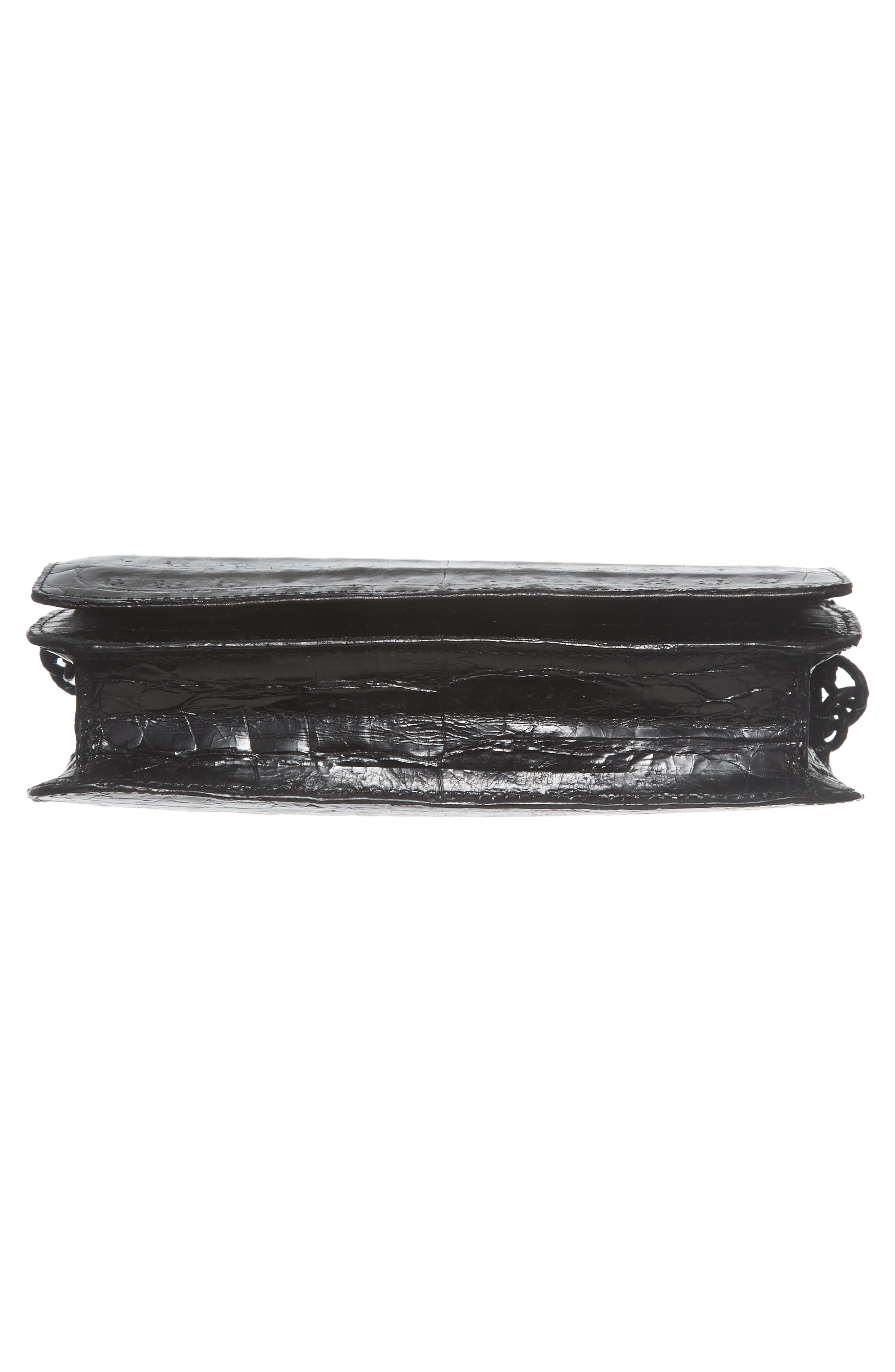 NANCY GONZALEZ, Genuine Crocodile Wallet on a Chain, Alternate thumbnail 6, color, BLACK SHINY
