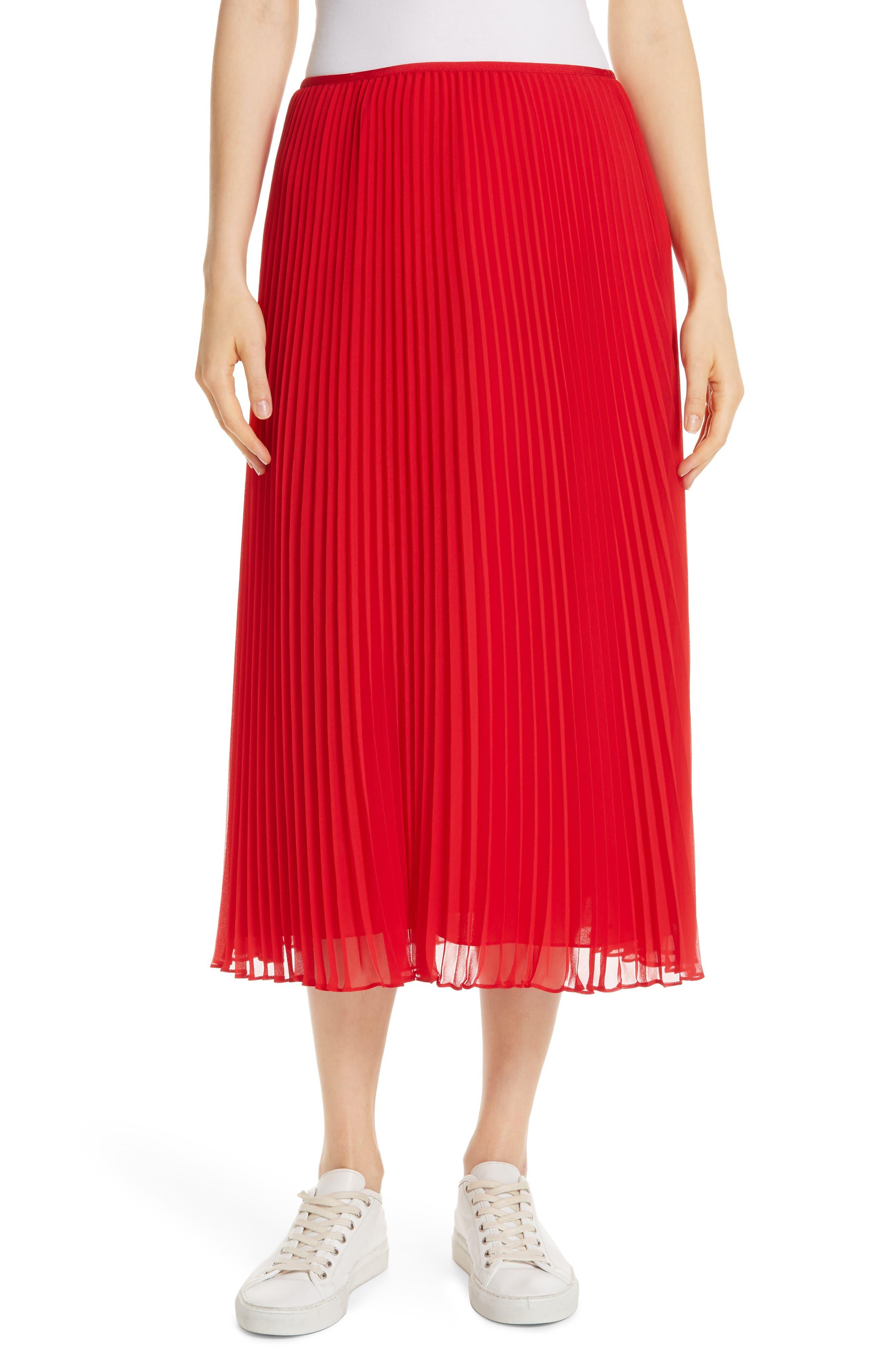 POLO RALPH LAUREN, Pleat Midi Skirt, Main thumbnail 1, color, PANDORA RED