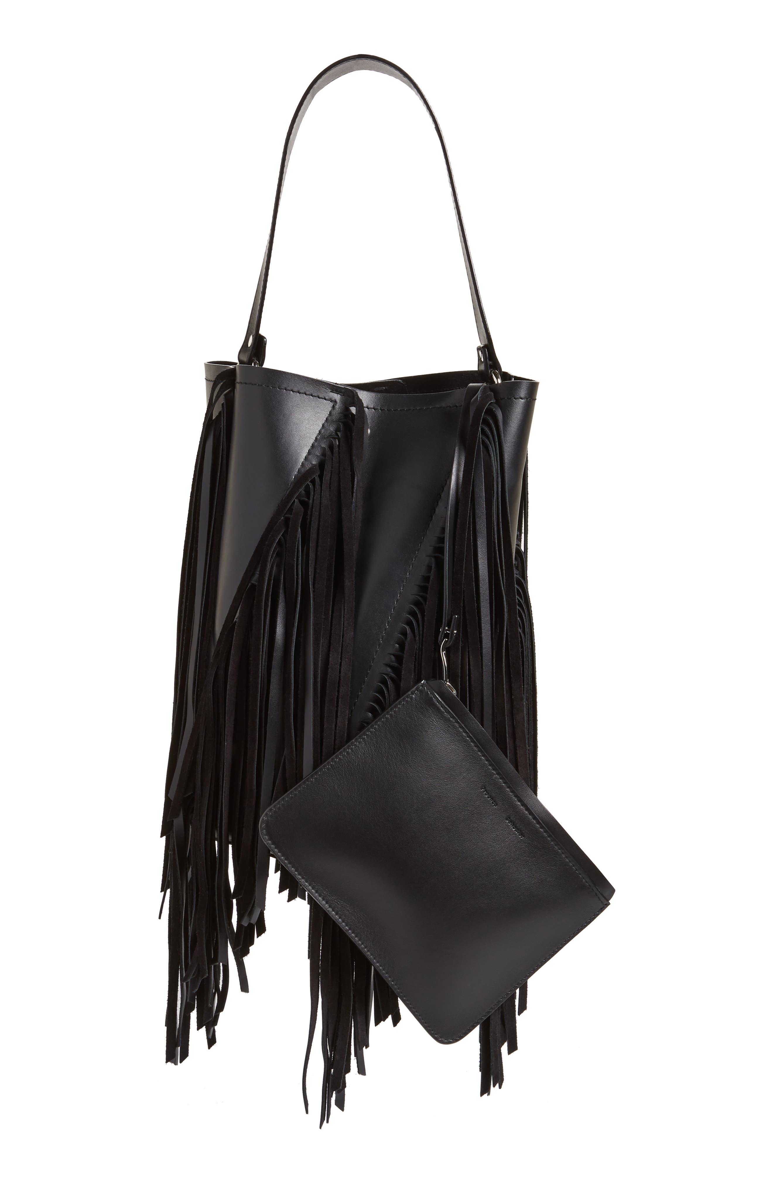 PROENZA SCHOULER, Medium Hex Fringe Calfskin Leather Bucket Bag, Alternate thumbnail 3, color, BLACK/ BLACK