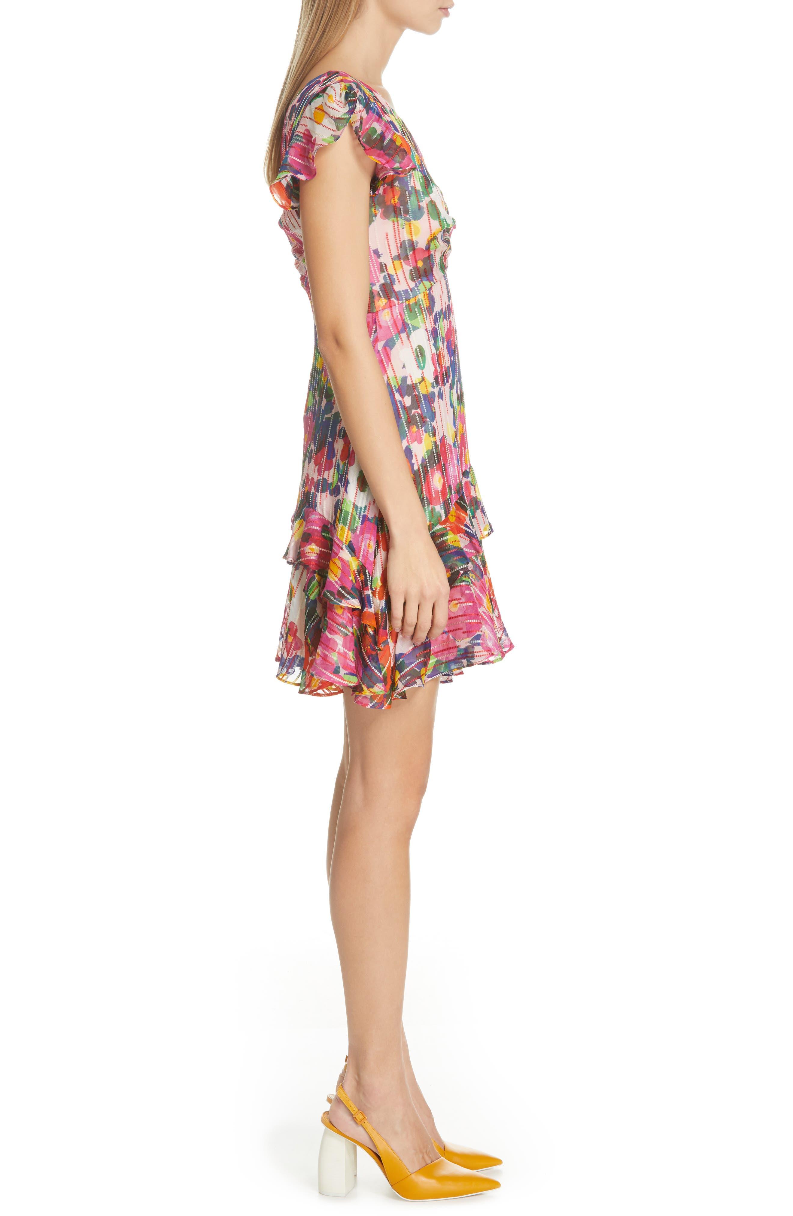SALONI, Catia Floral Print Silk Blend Minidress, Alternate thumbnail 4, color, PINK ROSETTE