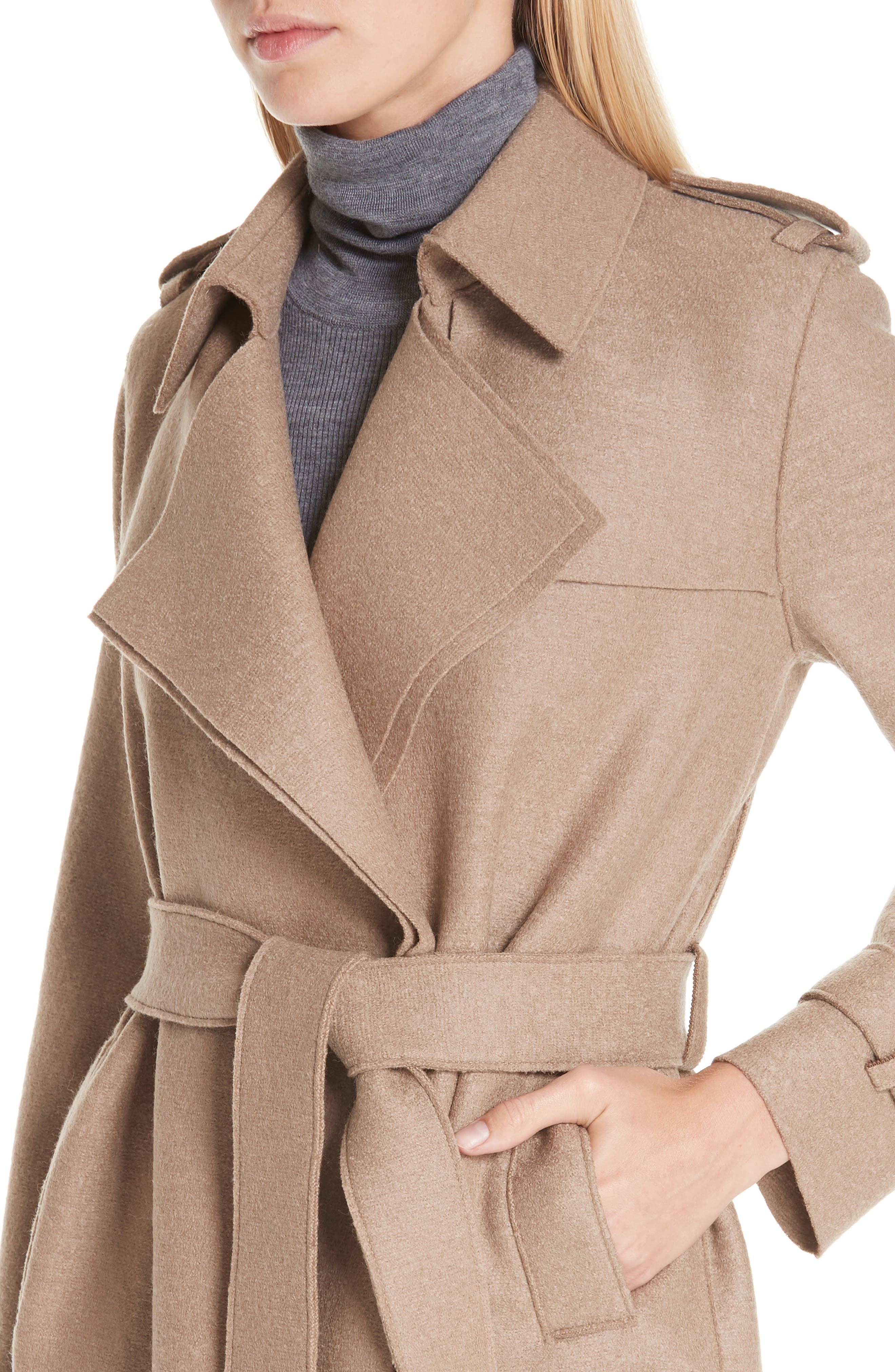 HARRIS WHARF LONDON, Long Belted Trench, Alternate thumbnail 6, color, CAMEL