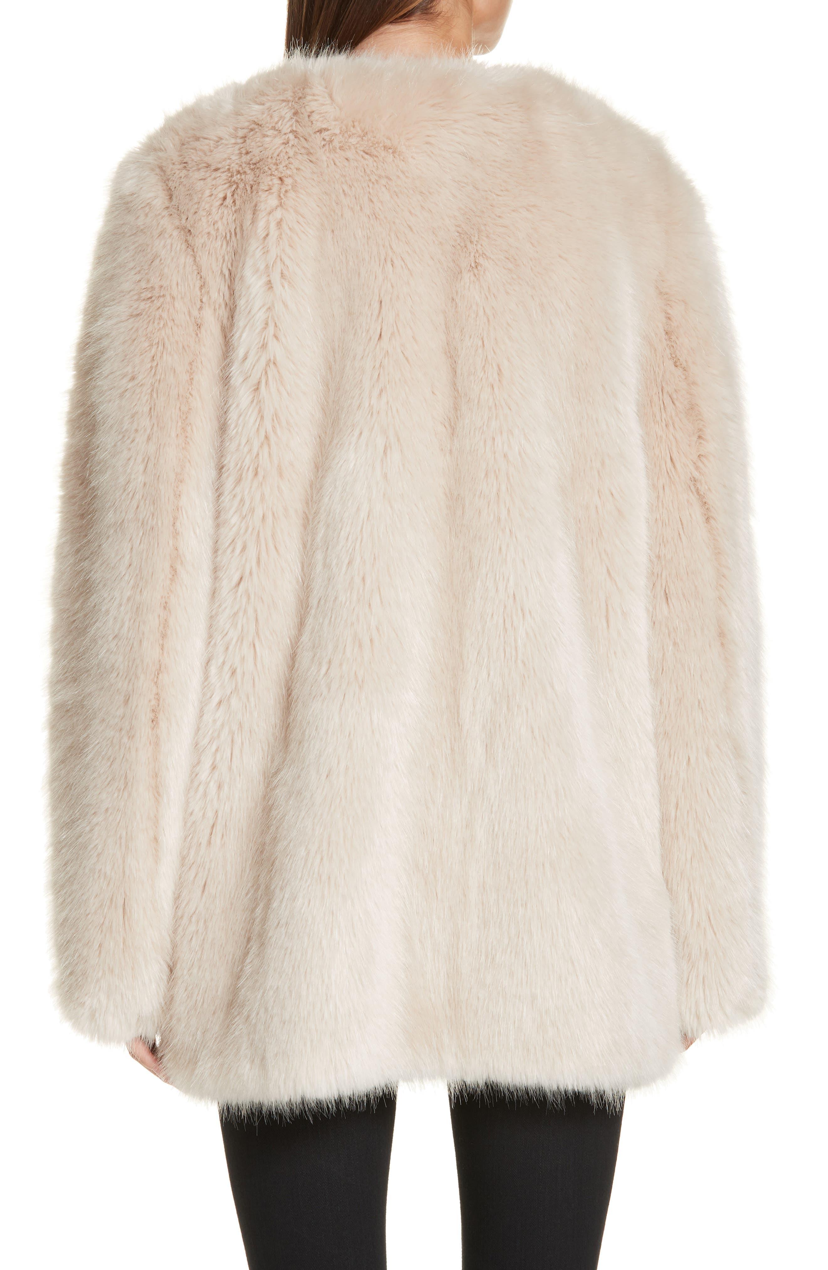 HELMUT LANG, Faux Fur Coat, Alternate thumbnail 2, color, OATMEAL