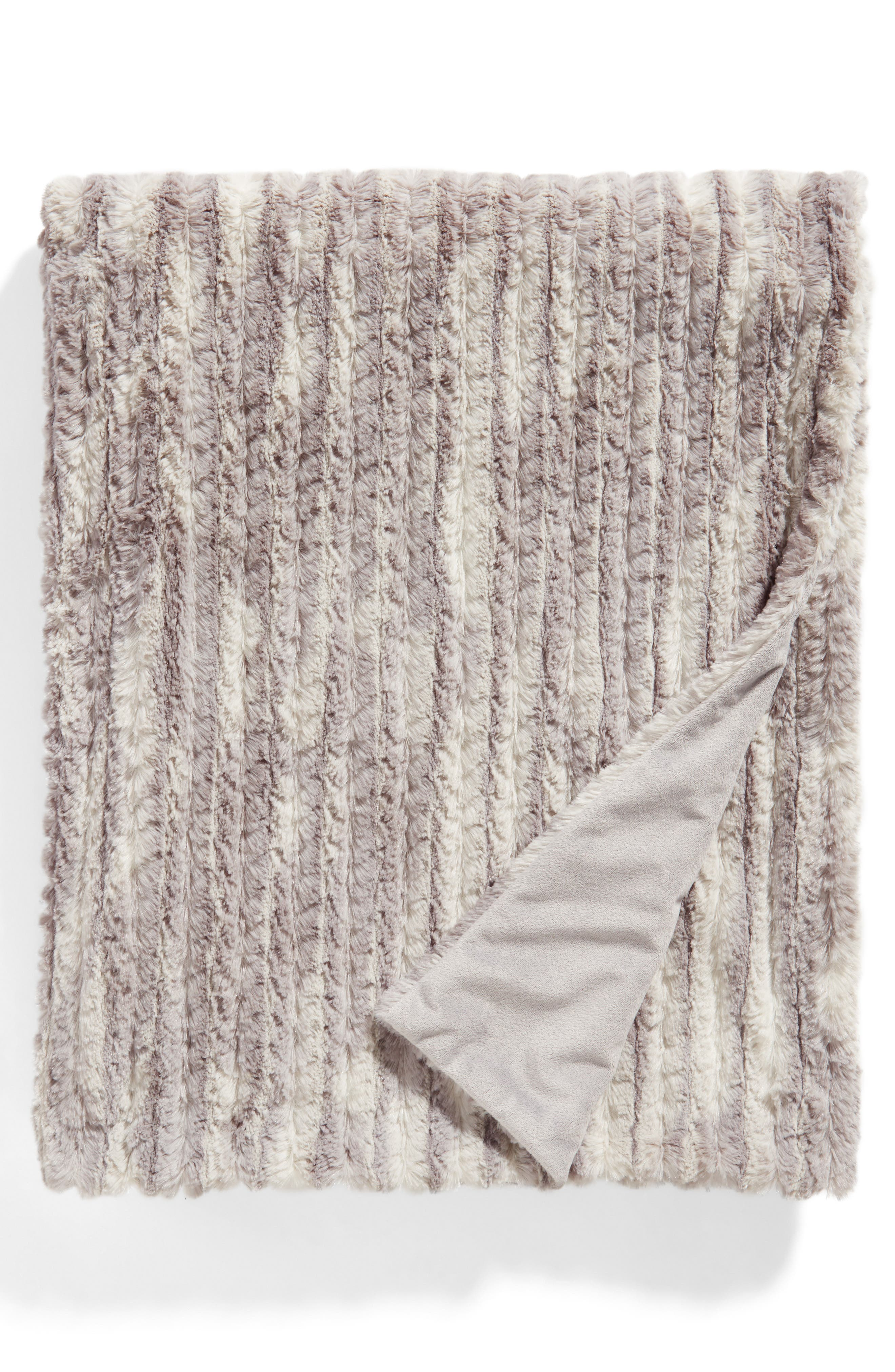 NORDSTROM AT HOME Soft Ribbed Plush Throw, Main, color, GREY EXCALIBUR PRINT
