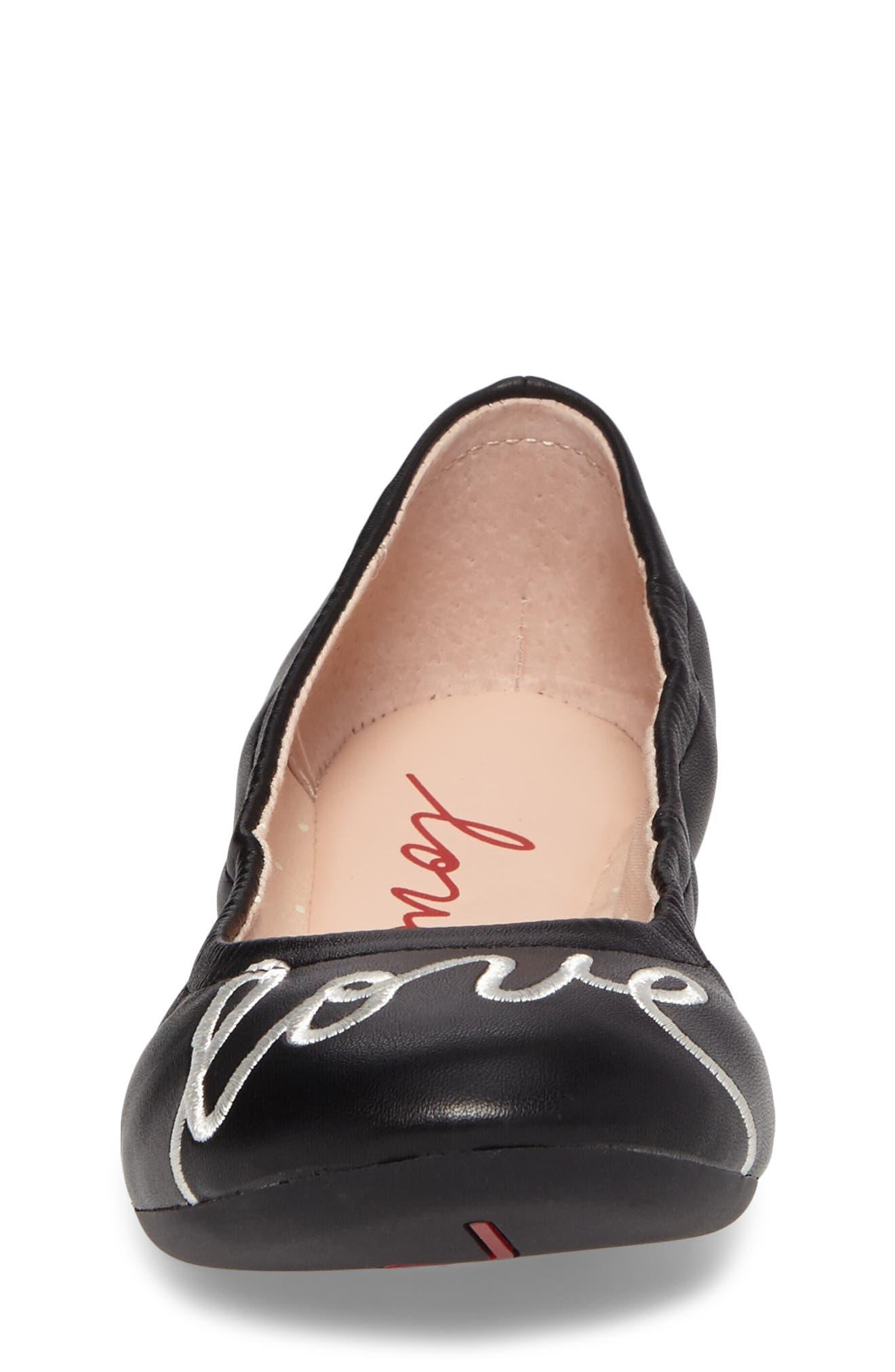 ED ELLEN DEGENERES, Langlee Embroidered Ballet Flat, Alternate thumbnail 4, color, BLACK