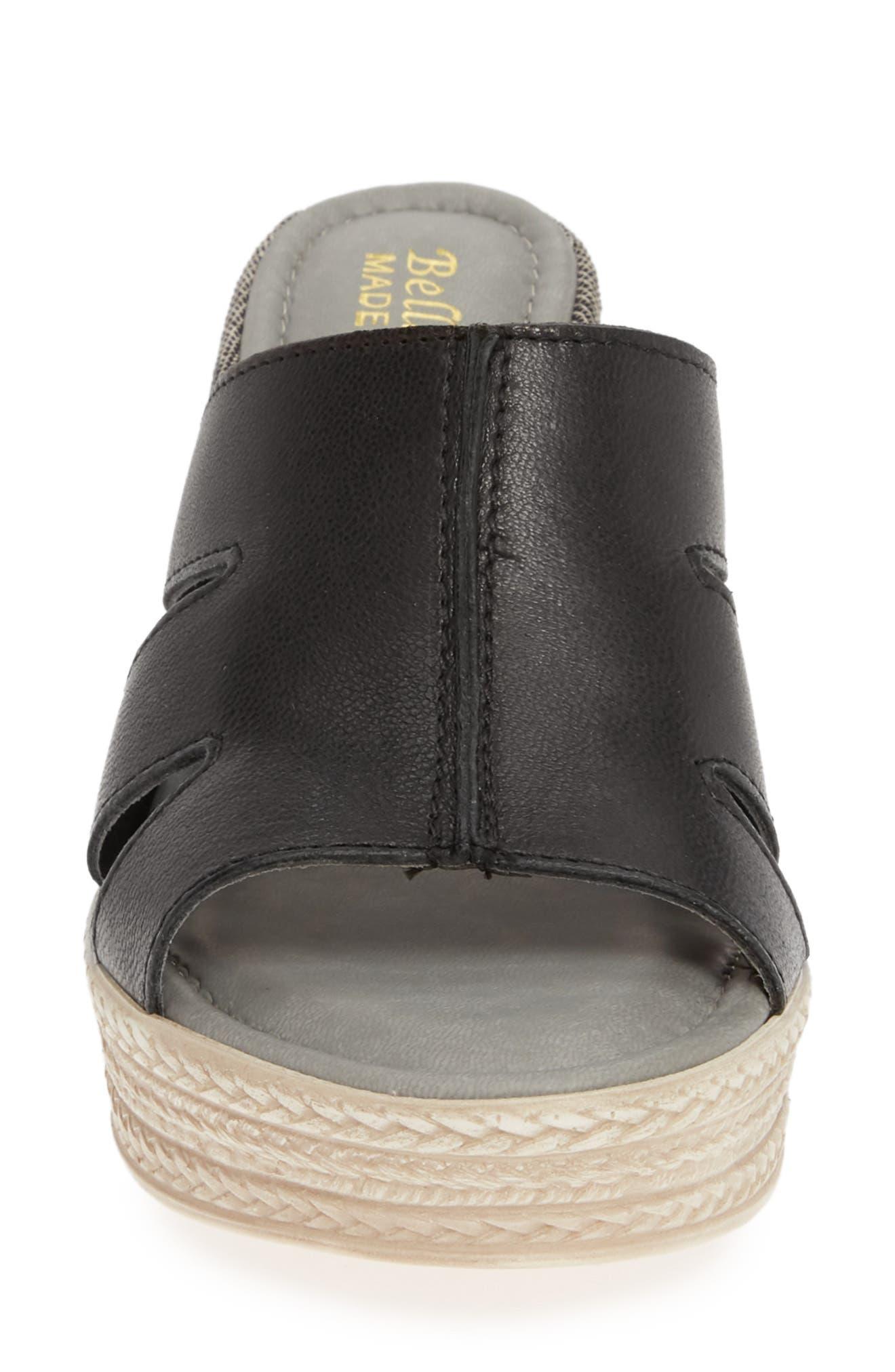 BELLA VITA, Rox Wedge Slide Sandal, Alternate thumbnail 4, color, BLACK ITALIAN LEATHER