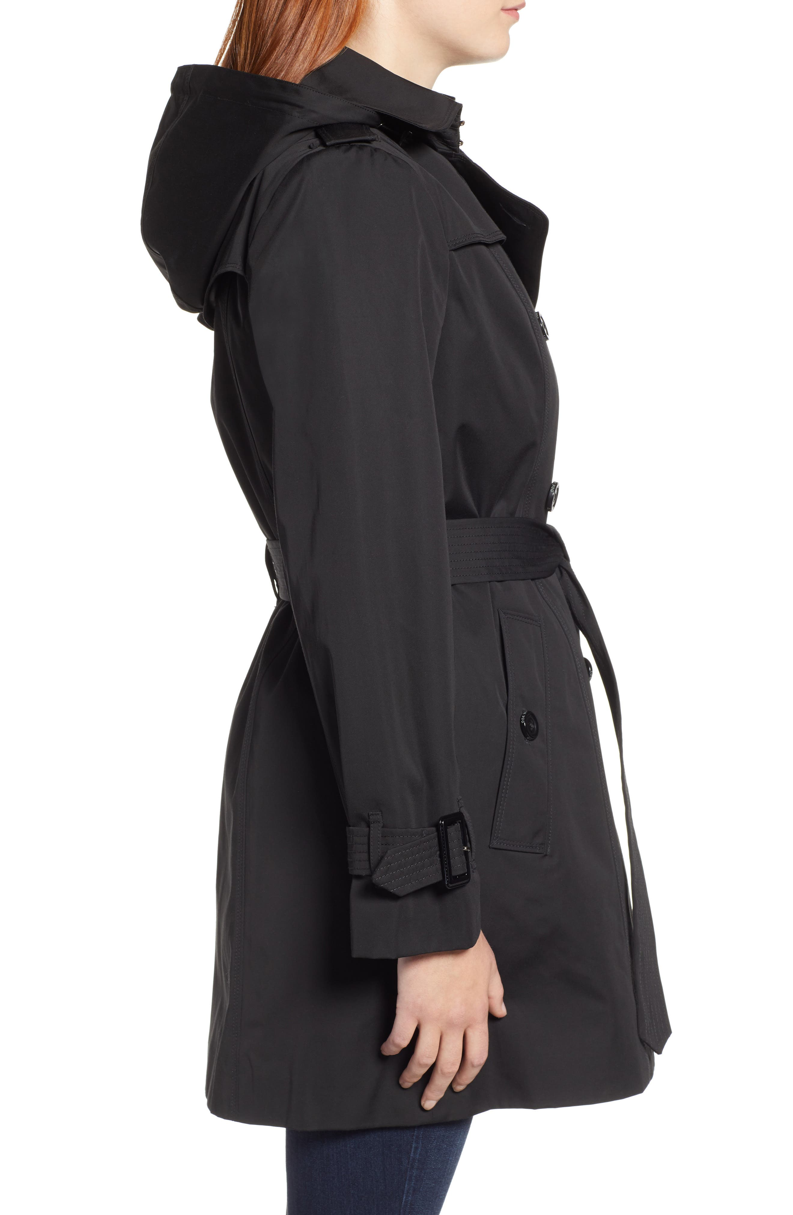 LONDON FOG, Trench Coat with Detachable Liner & Hood, Alternate thumbnail 3, color, BLACK