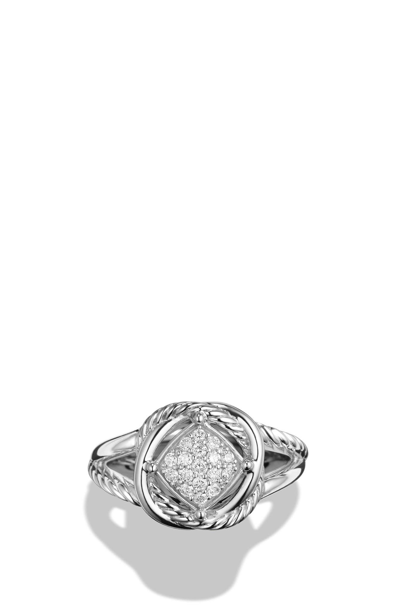 DAVID YURMAN, 'Infinity' Ring with Diamonds, Alternate thumbnail 4, color, DIAMOND