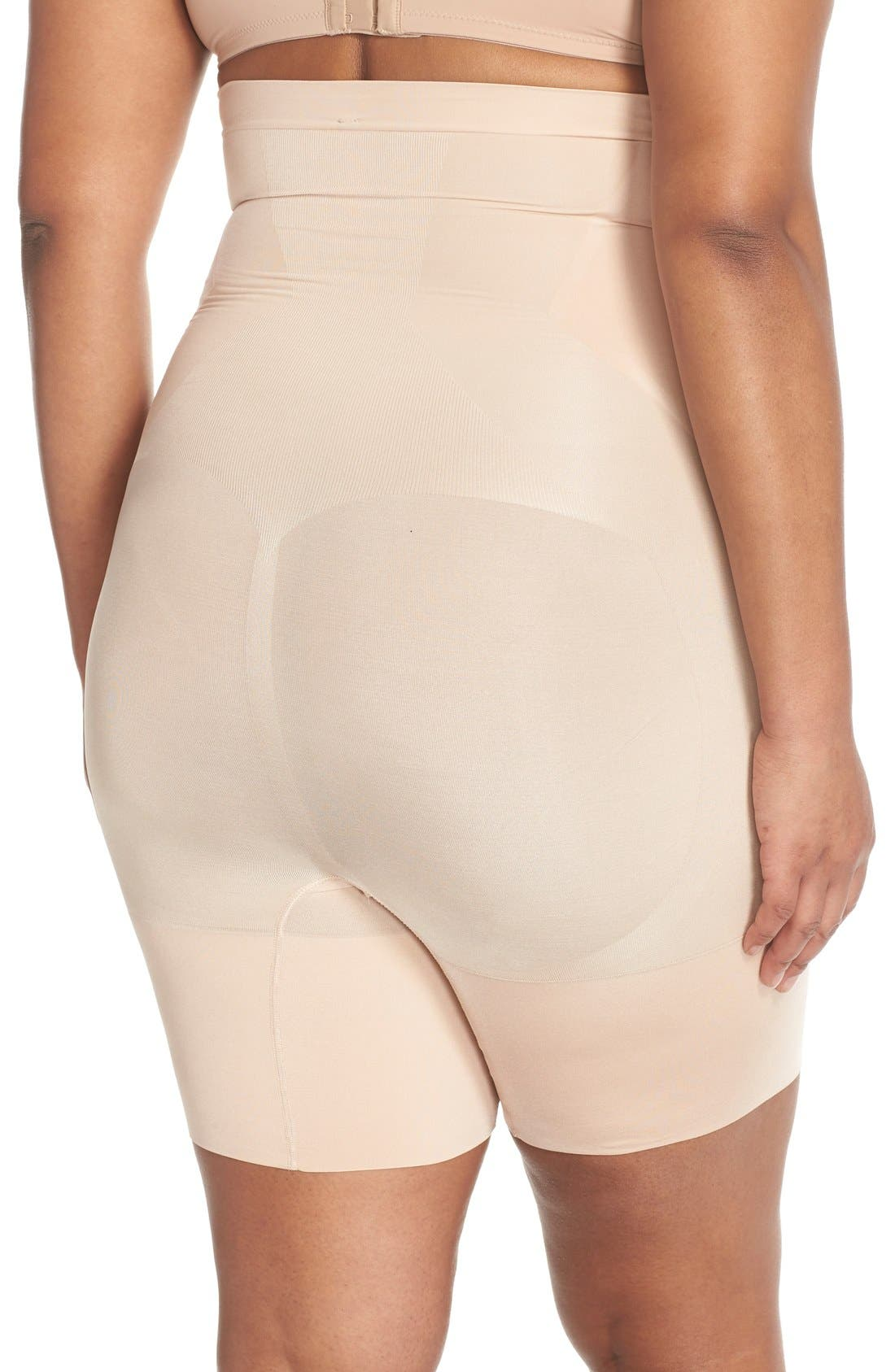 SPANX<SUP>®</SUP>, OnCore High Waist Mid-Thigh Shorts, Alternate thumbnail 4, color, SOFT NUDE